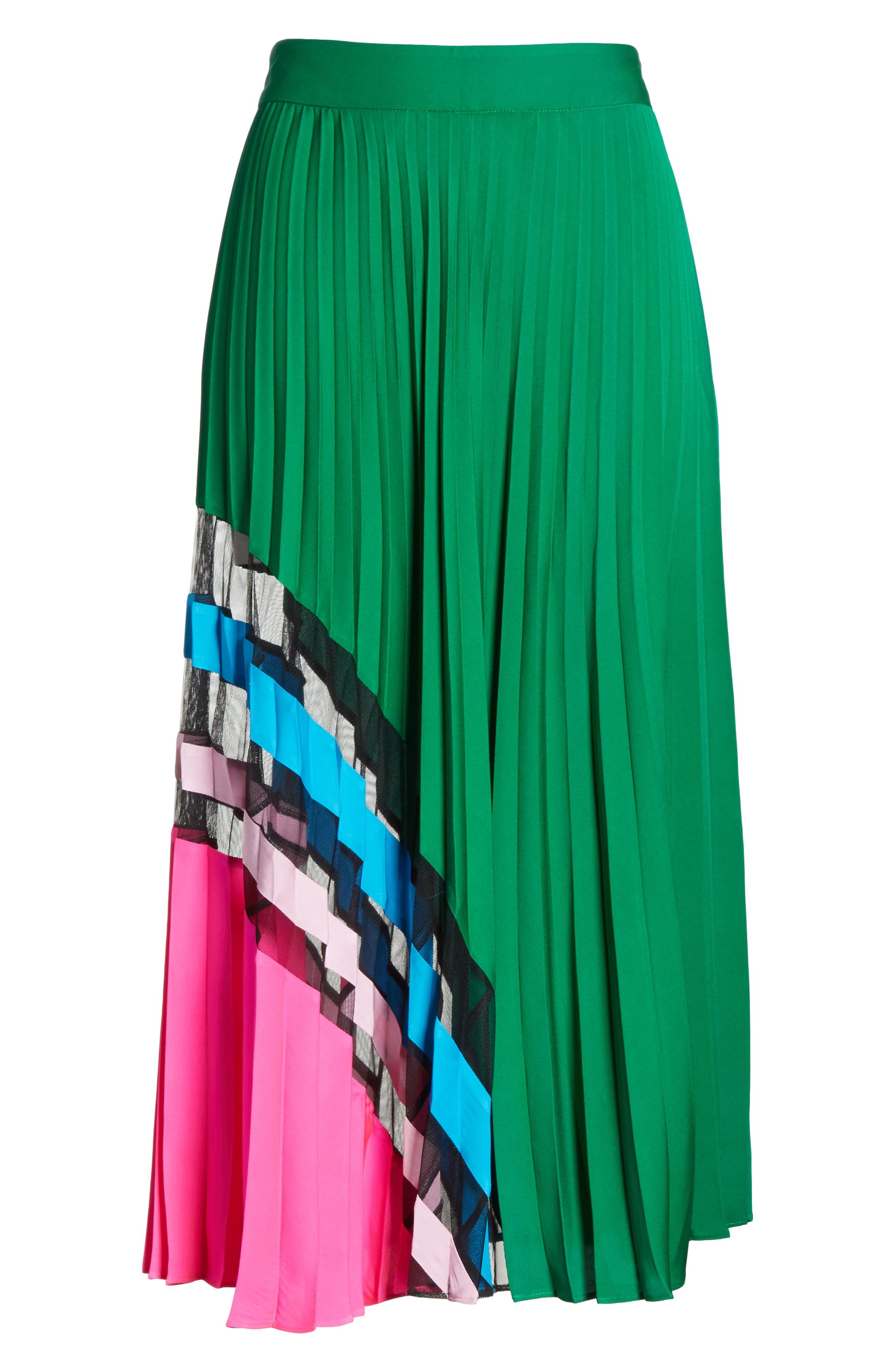 Pleated Maxi Skirt,                             Alternate thumbnail 6, color,                             Emerald Multi