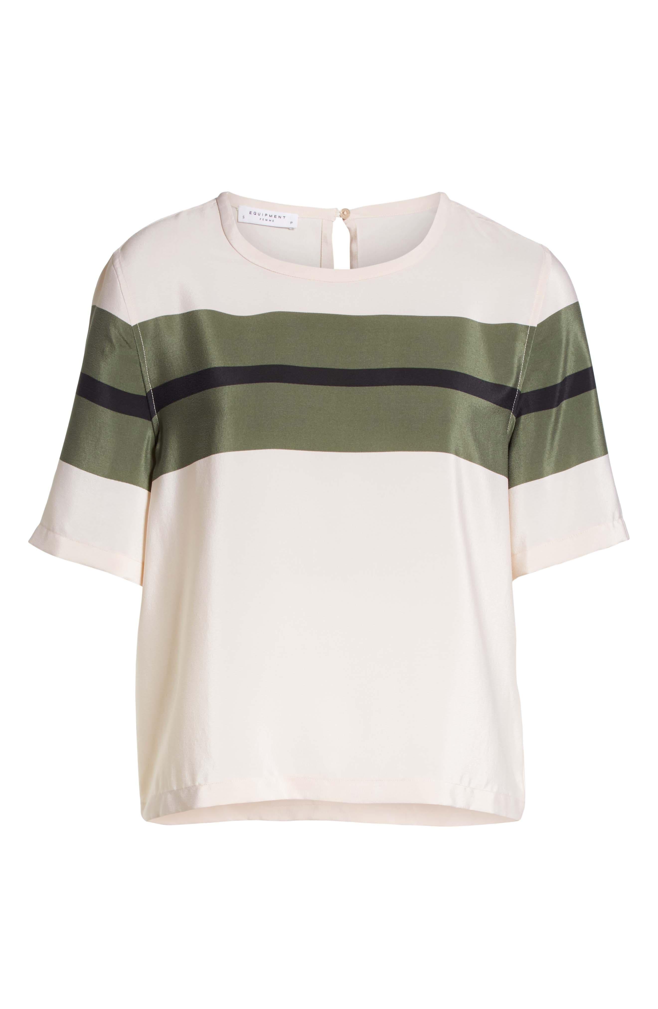 Brynn Stripe Silk Tee,                             Alternate thumbnail 6, color,                             French Vanilla-Camouflage