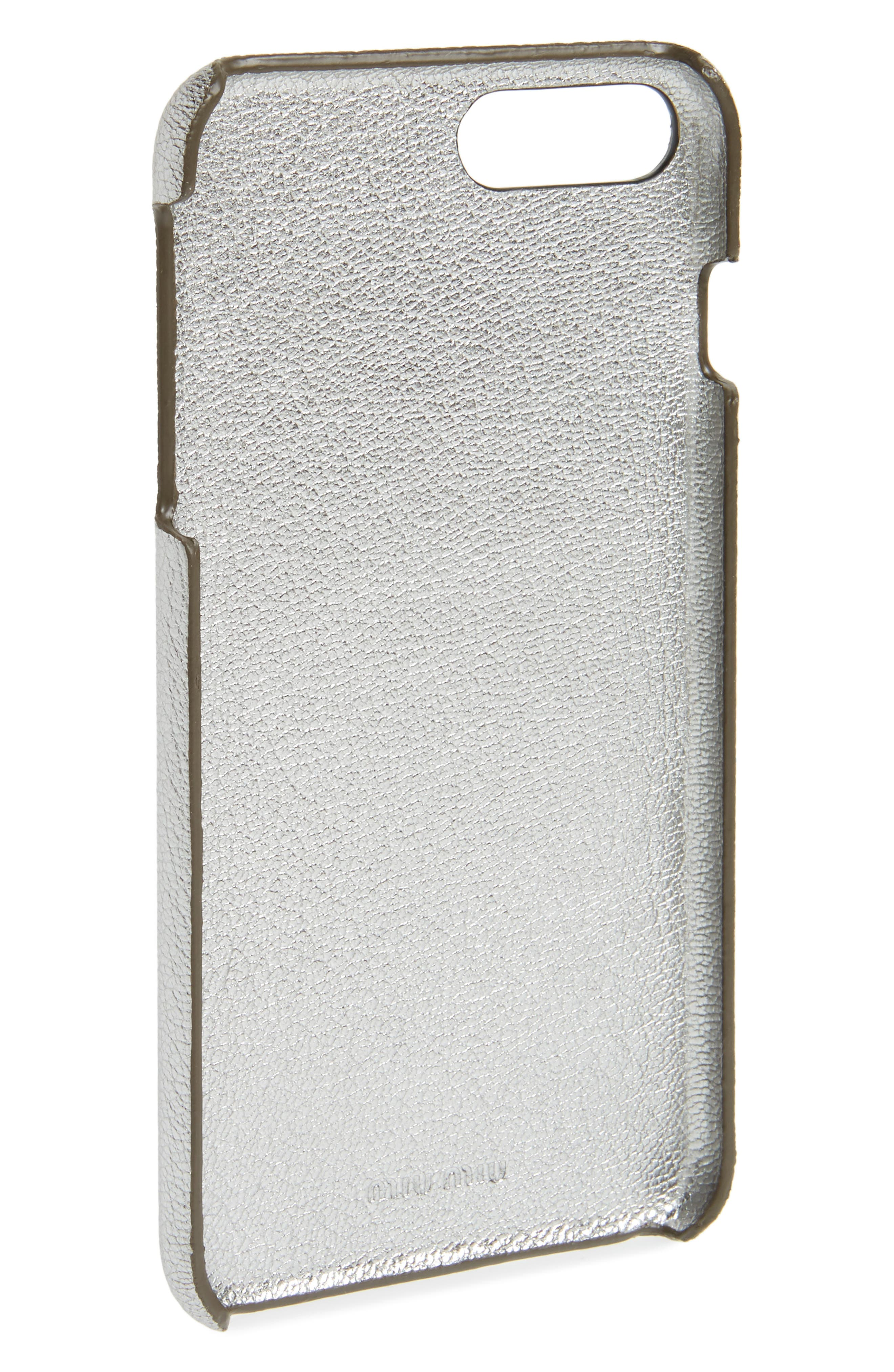 Madras Pop Patch Leather iPhone 7 Plus Case,                             Alternate thumbnail 2, color,                             Cromo