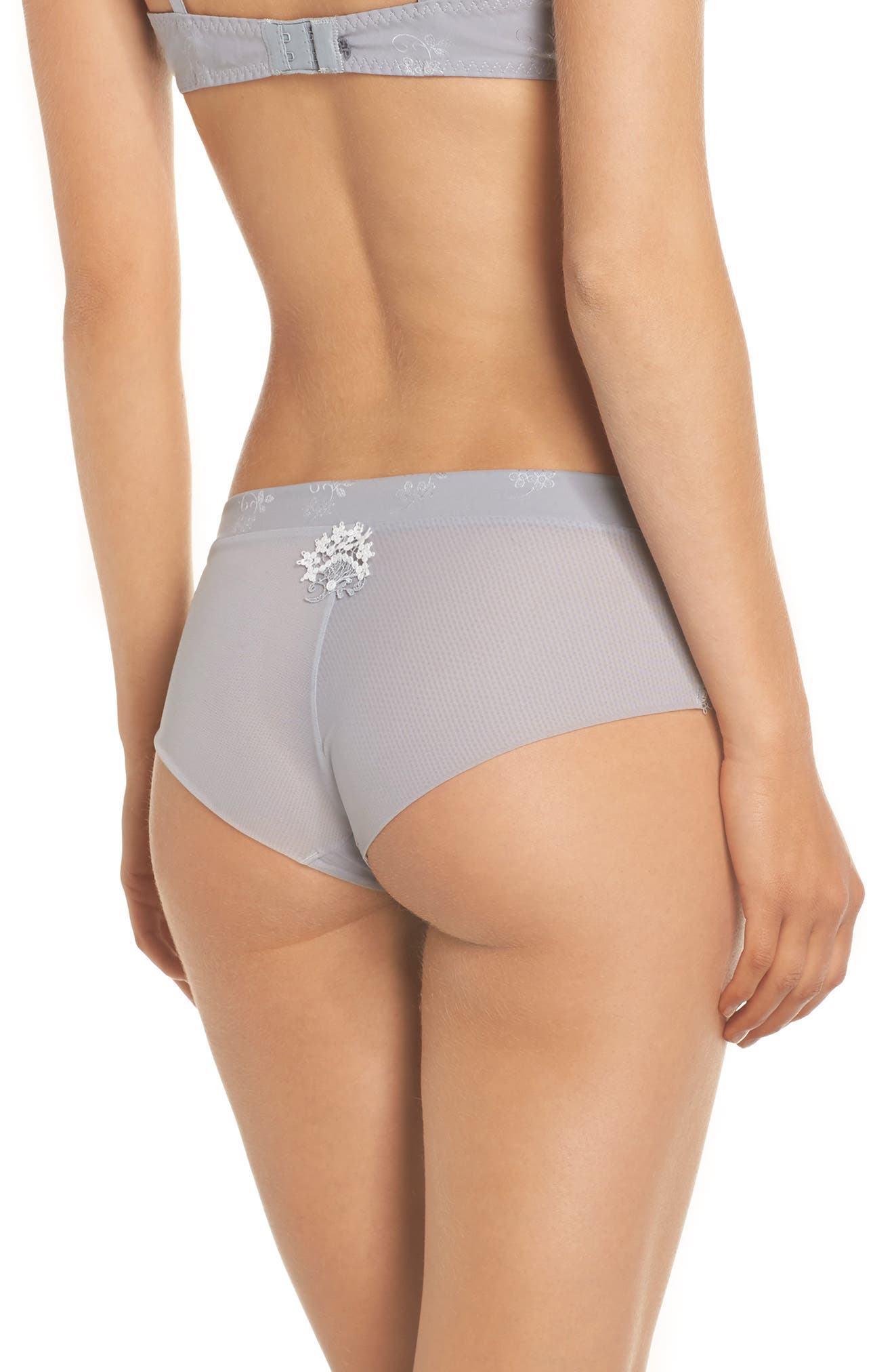 'Wish' Embroidered Boyshorts,                             Alternate thumbnail 2, color,                             Silver
