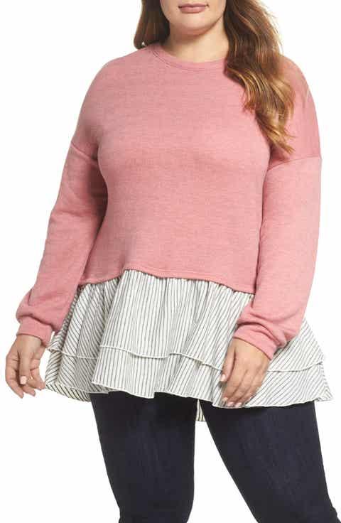 Caslon® Layered Look Sweatshirt (Plus Size)