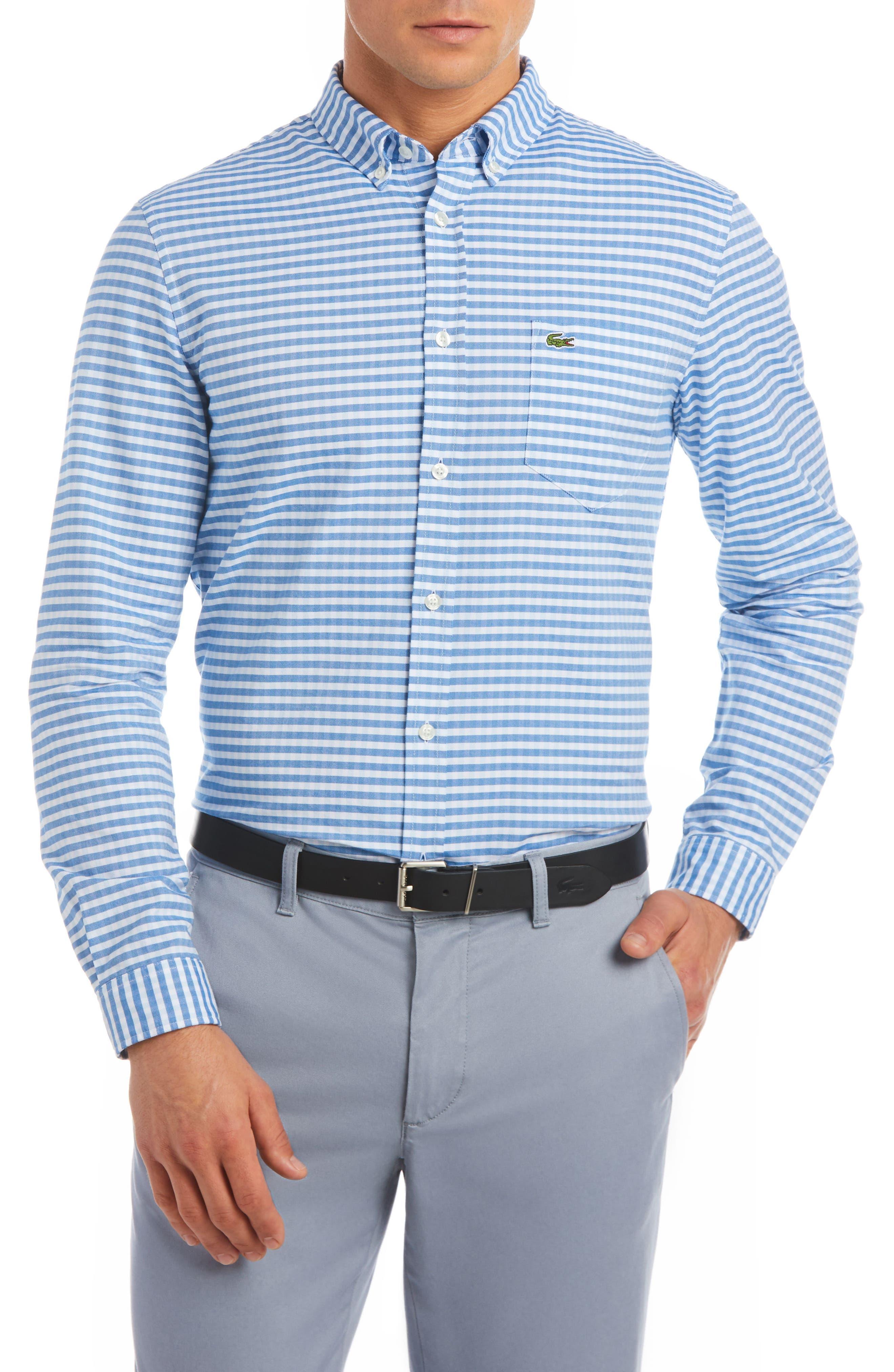 Slim Fit Gingham Sport Shirt,                             Main thumbnail 1, color,                             Rill/ White