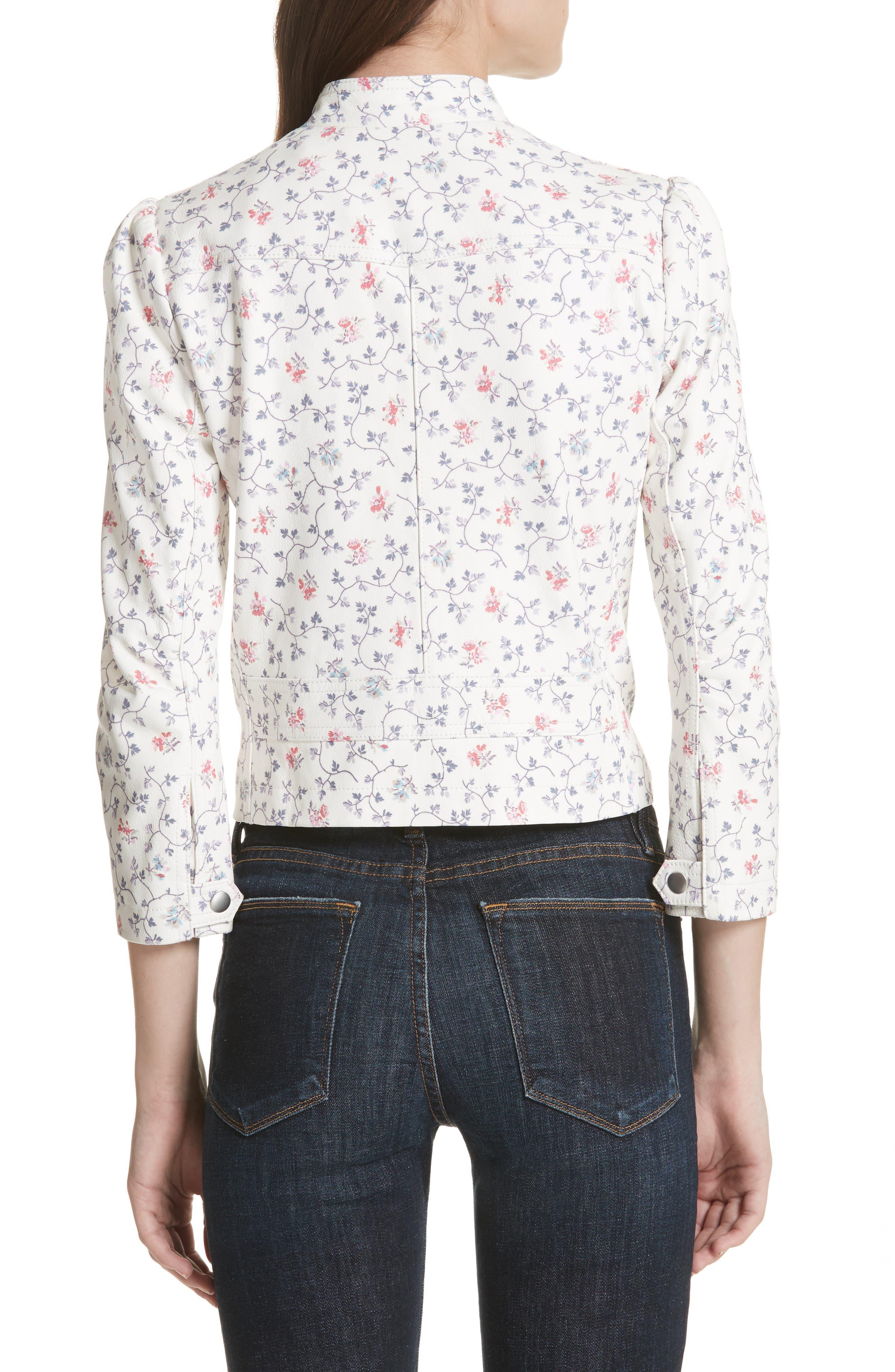 Floral Vine Leather Jacket,                             Alternate thumbnail 2, color,                             Vanilla