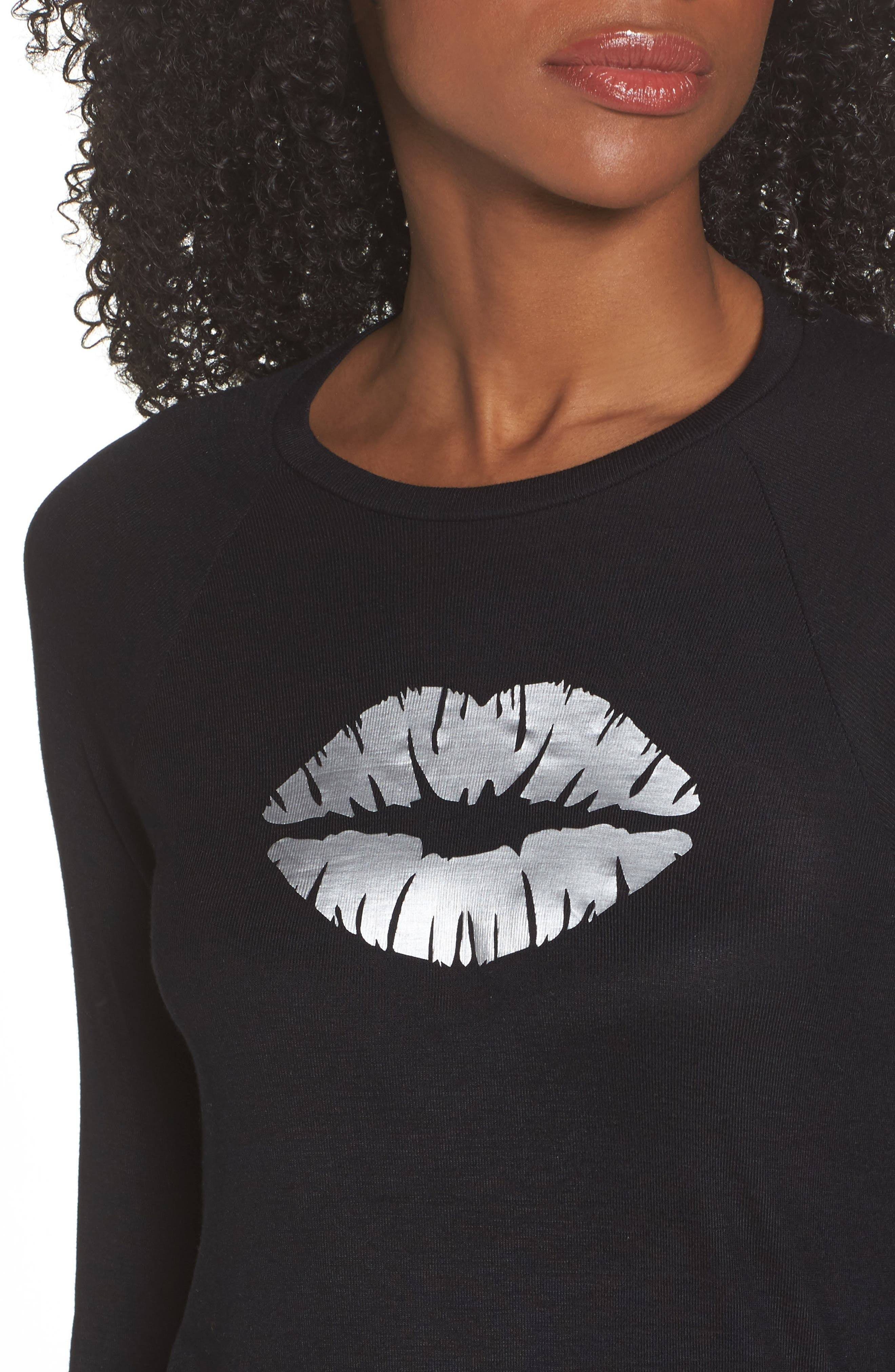 Long Sleeve Make Out Tee,                             Alternate thumbnail 4, color,                             Nero Silver