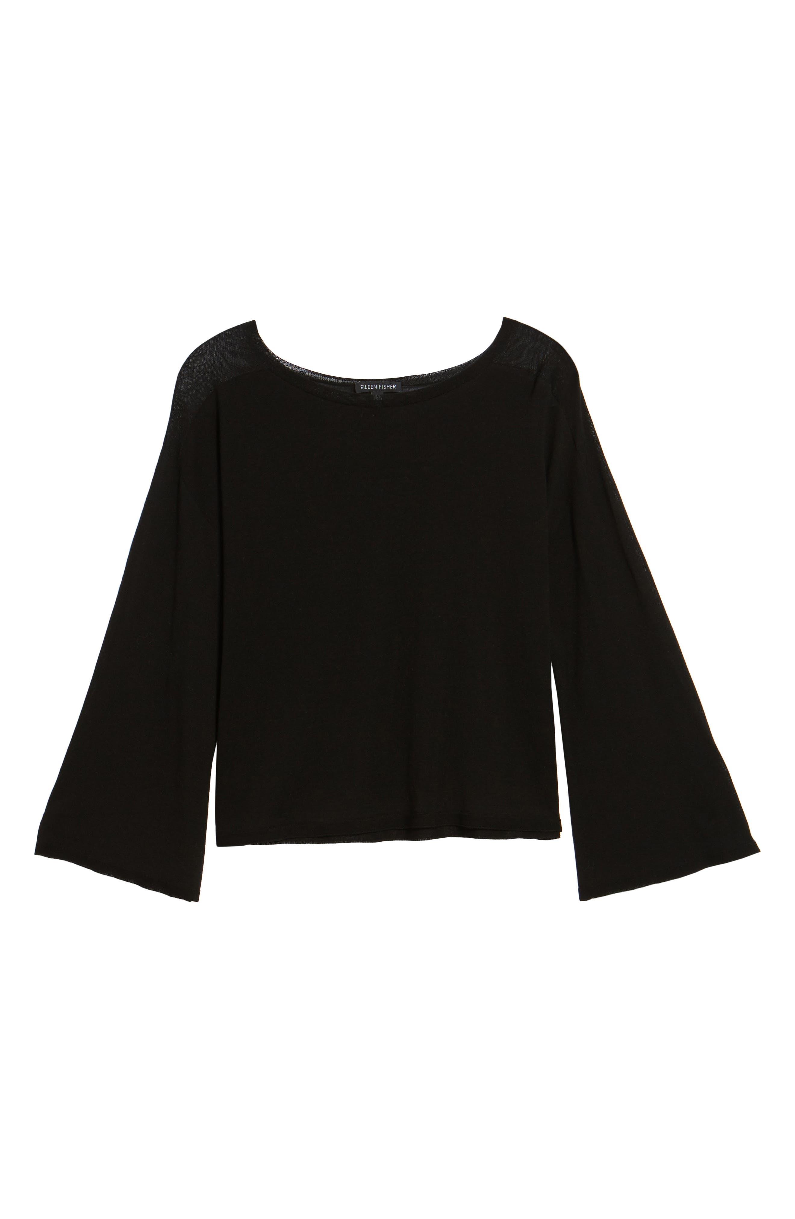 Tencel<sup>®</sup> Lyocell Knit Sweater,                             Alternate thumbnail 6, color,                             Black