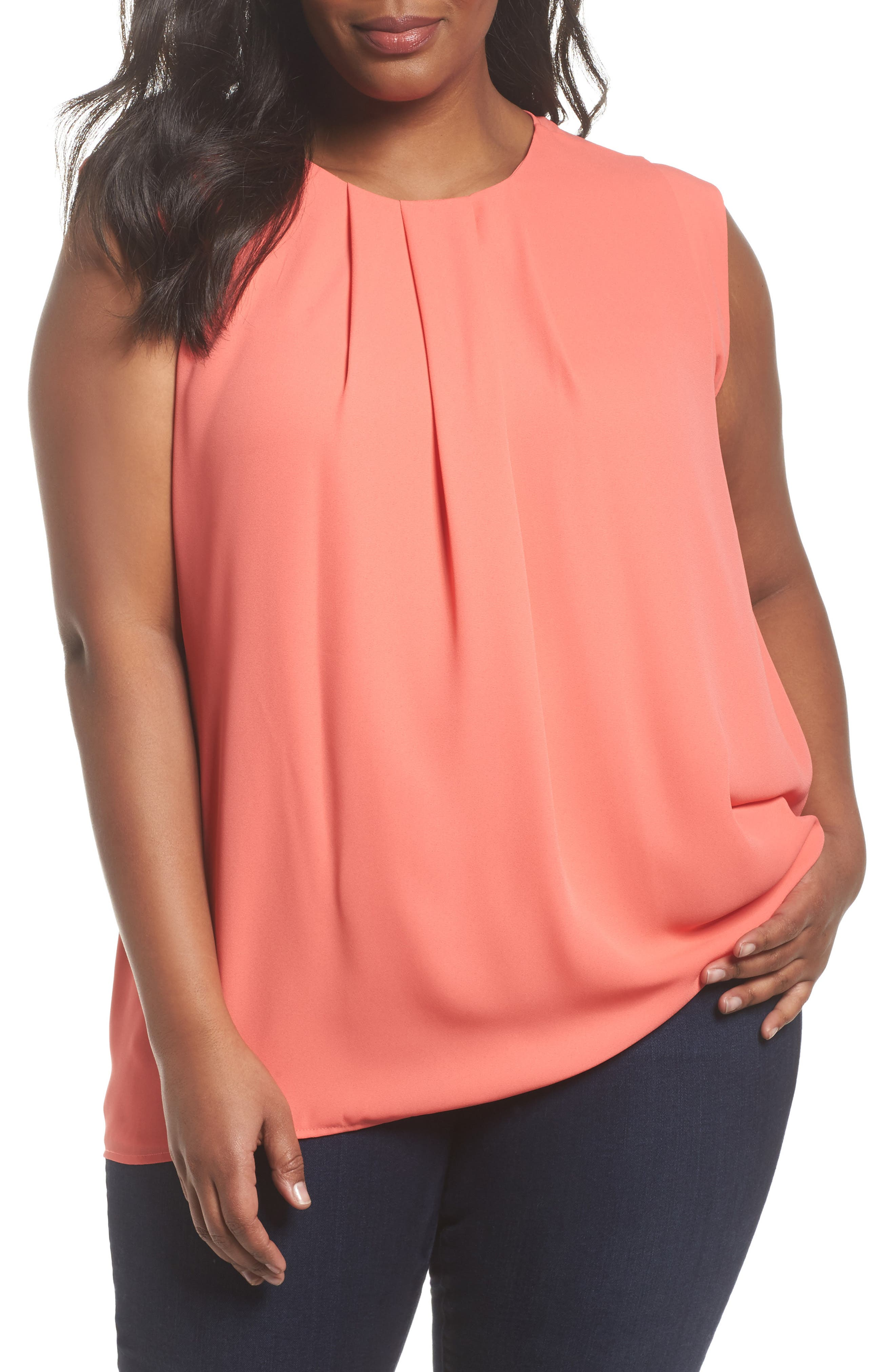 Alternate Image 1 Selected - Vince Camuto Pleated Blouse (Plus Size)