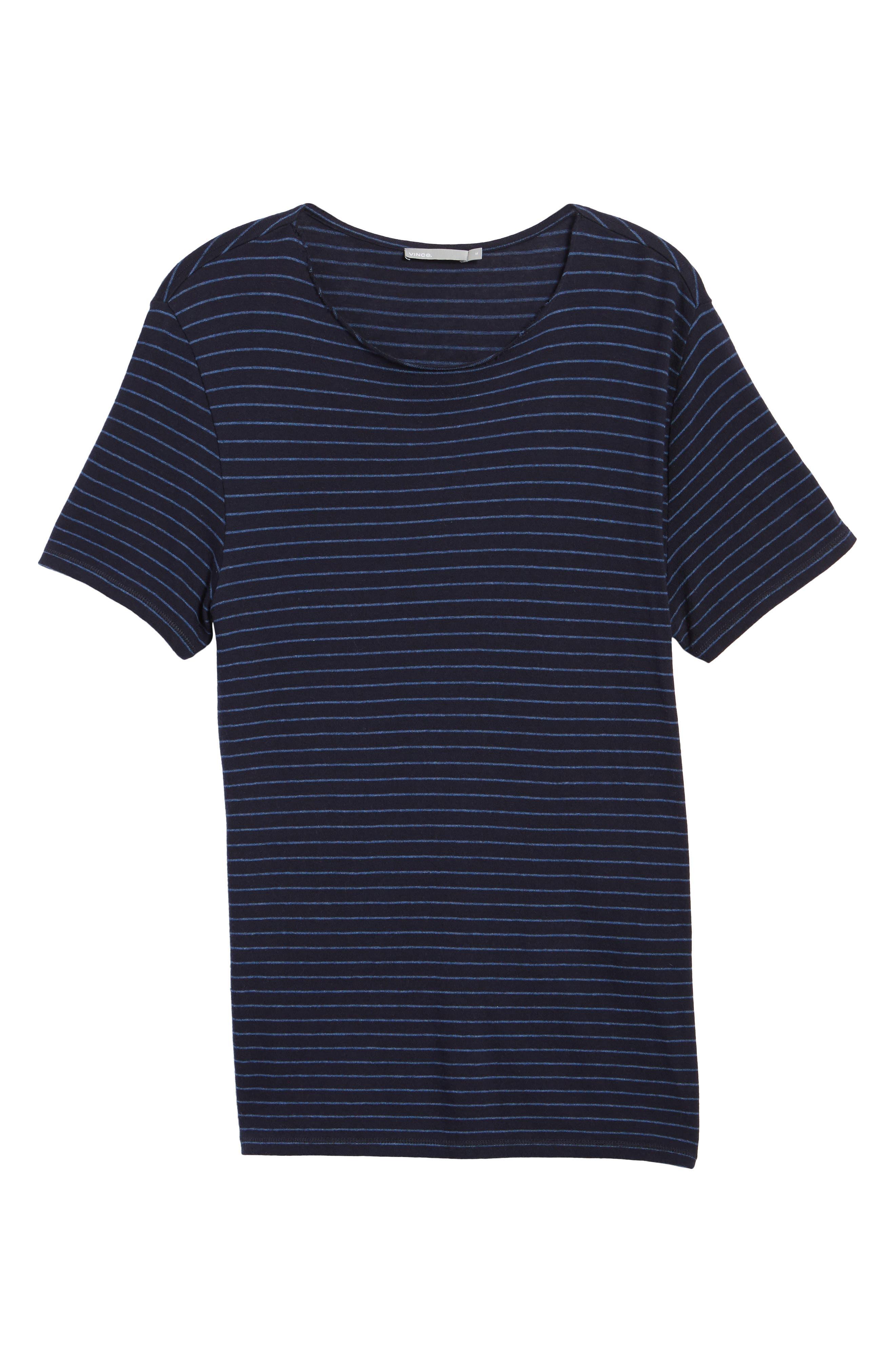 Raw Edge Stripe T-Shirt,                             Alternate thumbnail 6, color,                             New Coastal/ H Lake