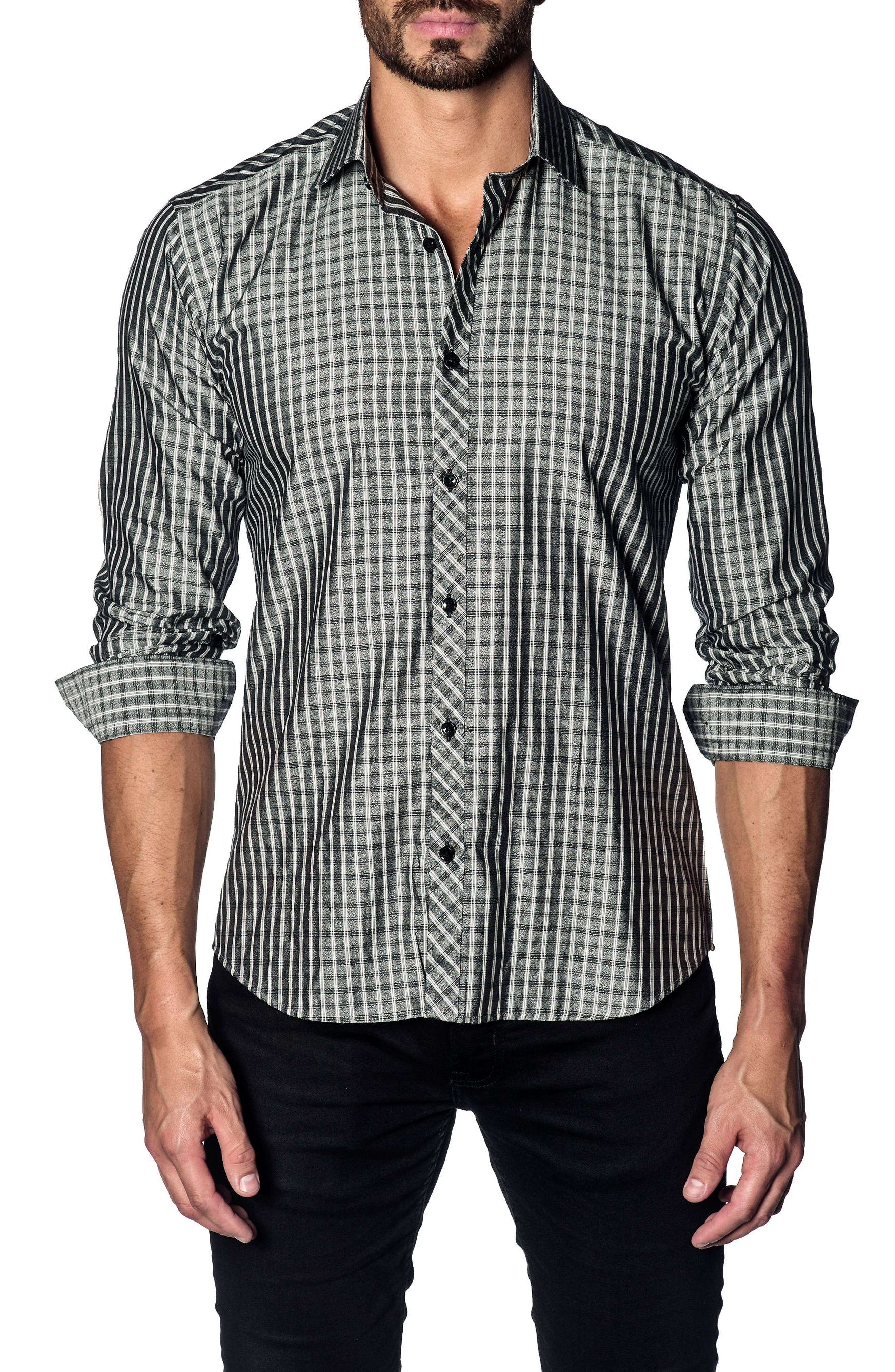 Slim Fit Grid Sport Shirt,                         Main,                         color, Charcoal Mouline Check