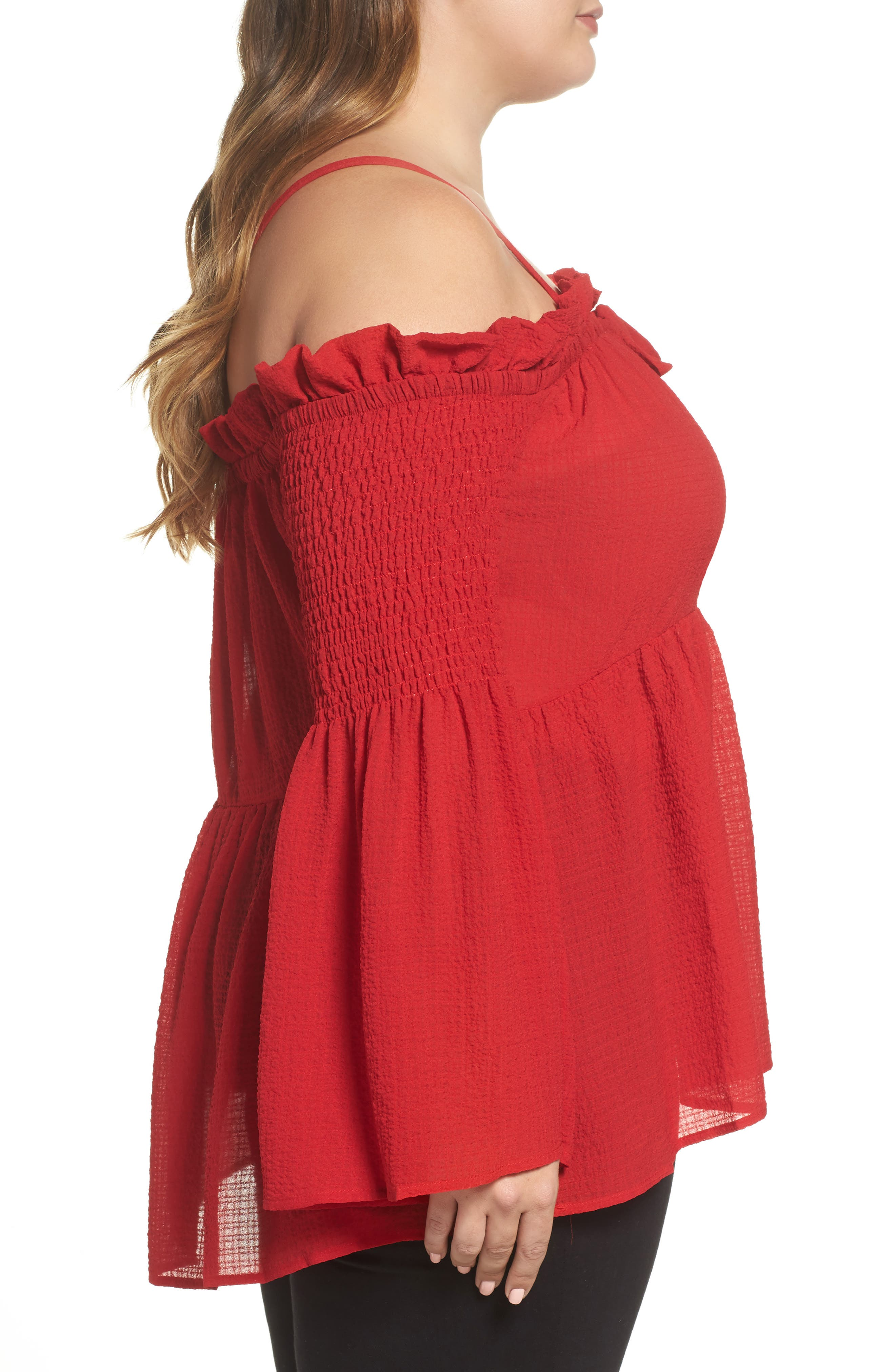 Off the Shoulder Textured Top,                             Alternate thumbnail 3, color,                             Red