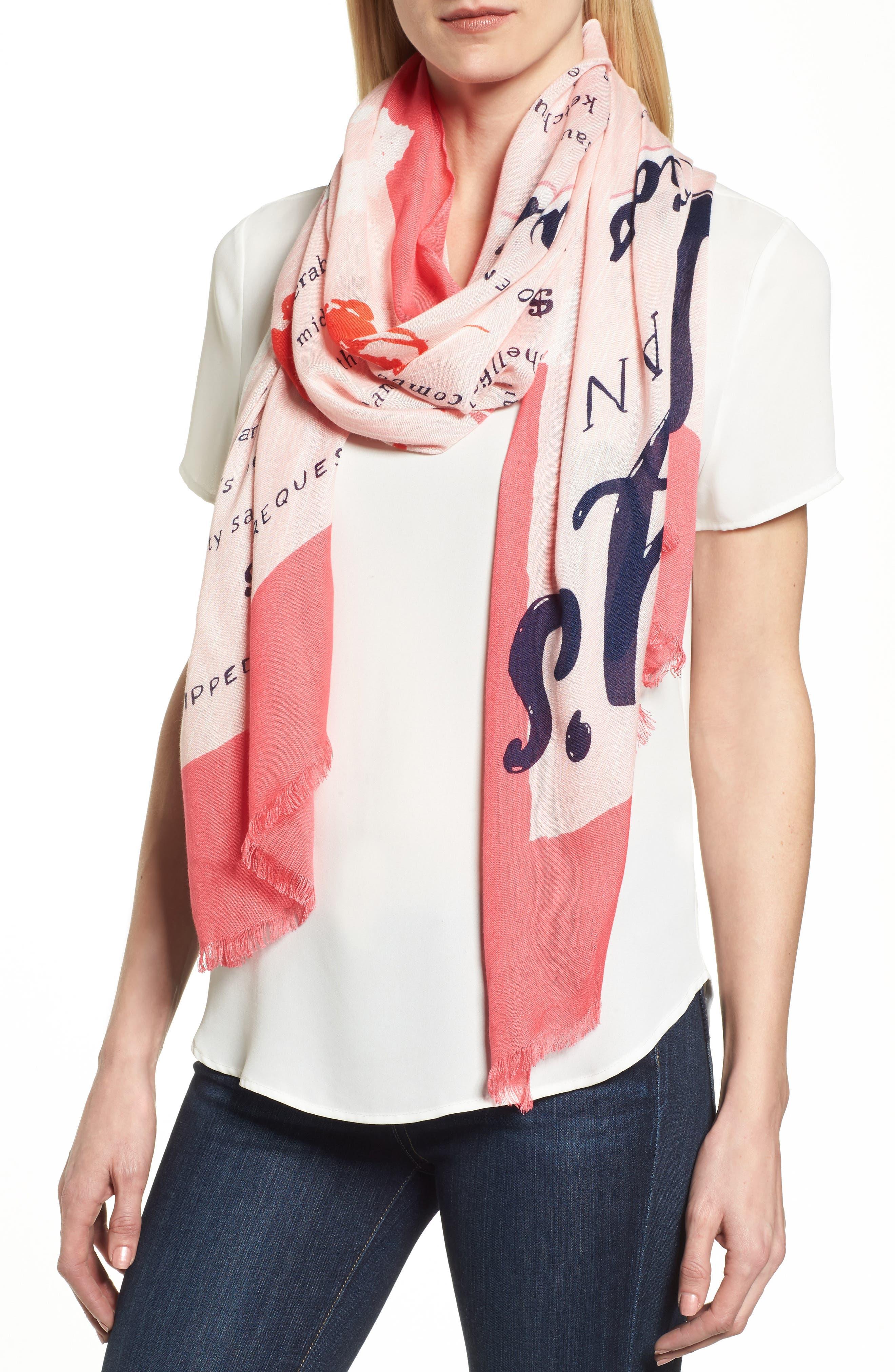 sandy's seaside stand scarf,                             Main thumbnail 1, color,                             Peach Sherbert