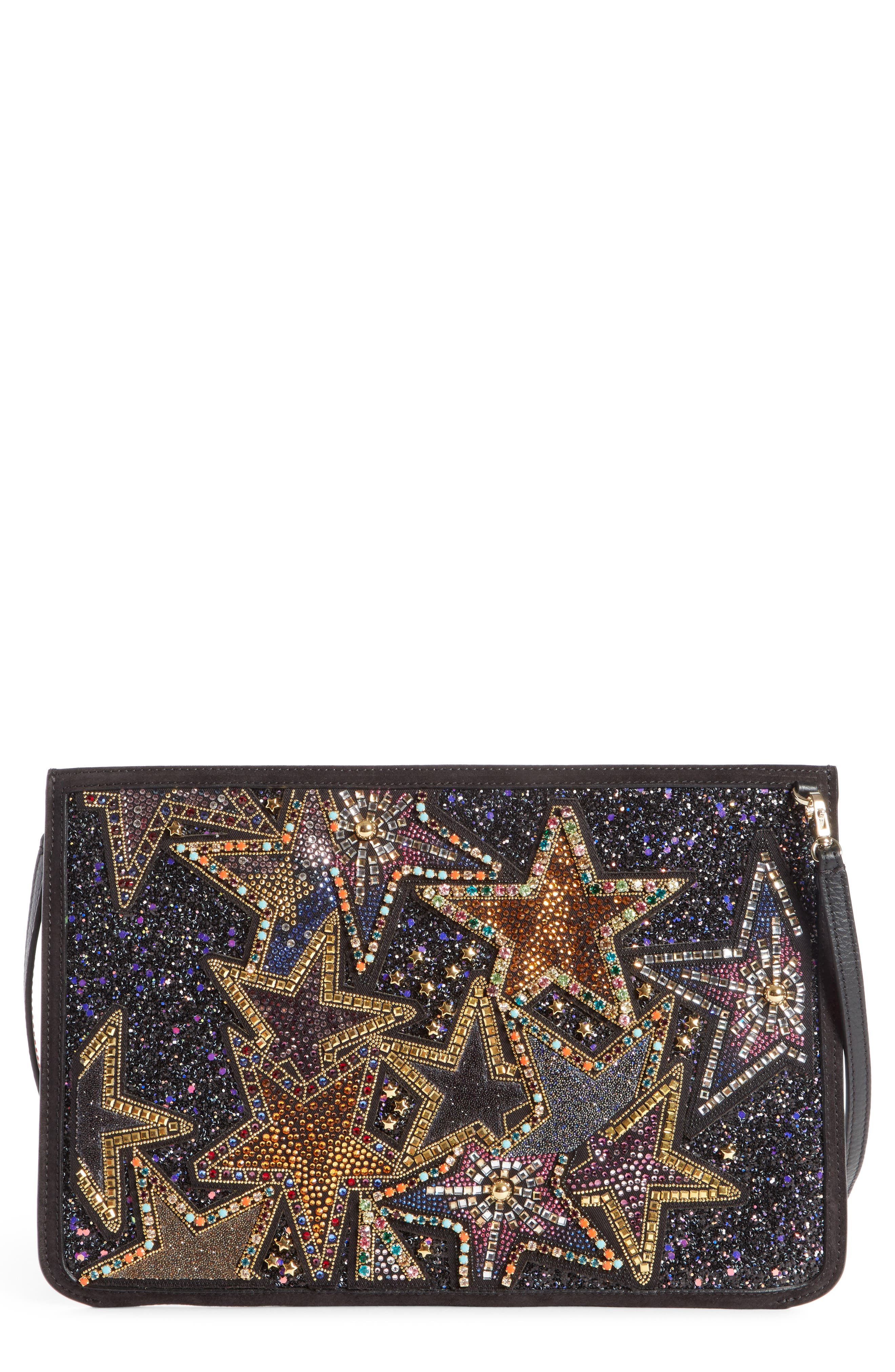 Loubiclutch Glitter Stars Leather Clutch,                             Main thumbnail 1, color,                             Black Multi