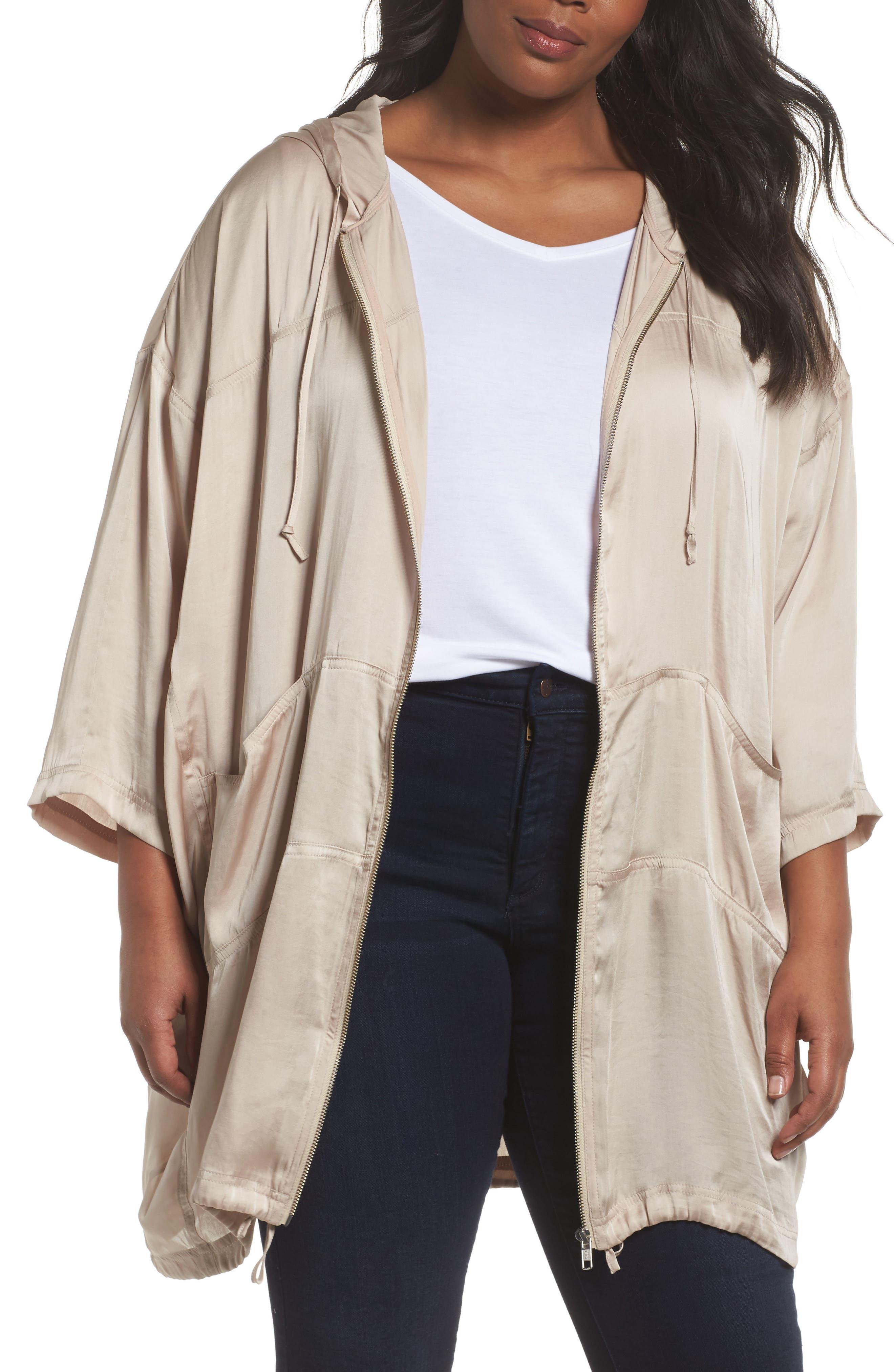 Sejour Oversized Satin Zip Jacket (Plus Size)
