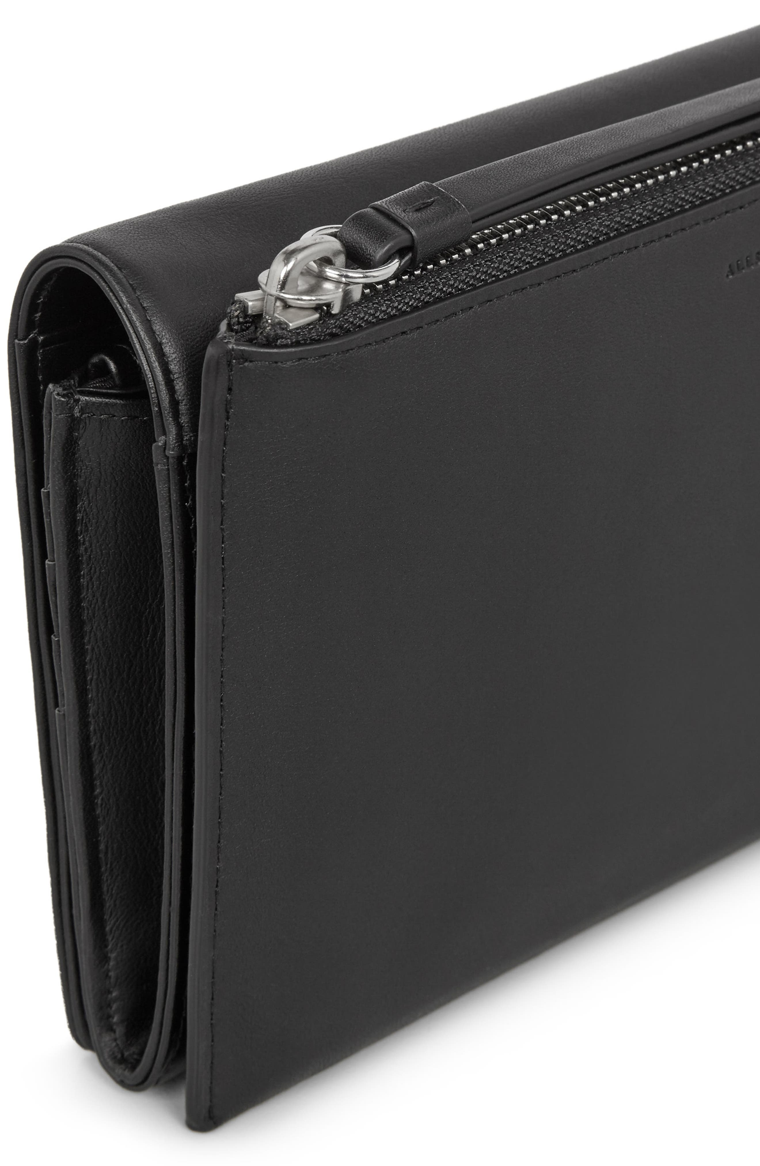 Billie Leather Wallet,                             Alternate thumbnail 4, color,                             Black