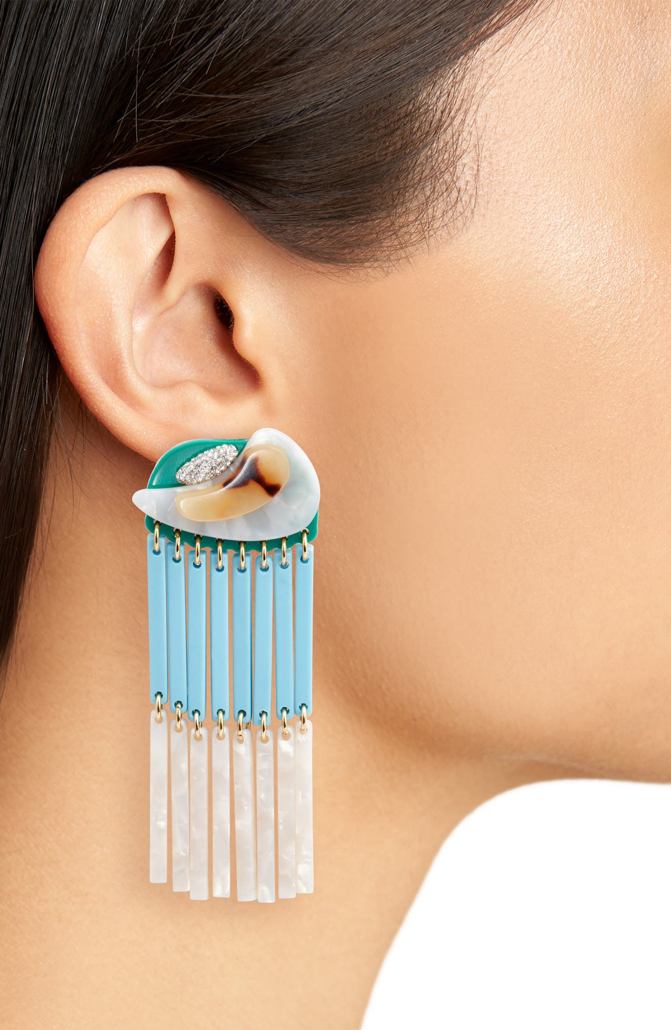 Parrot Beaded Drop Earrings,                             Alternate thumbnail 2, color,                             Turquoise