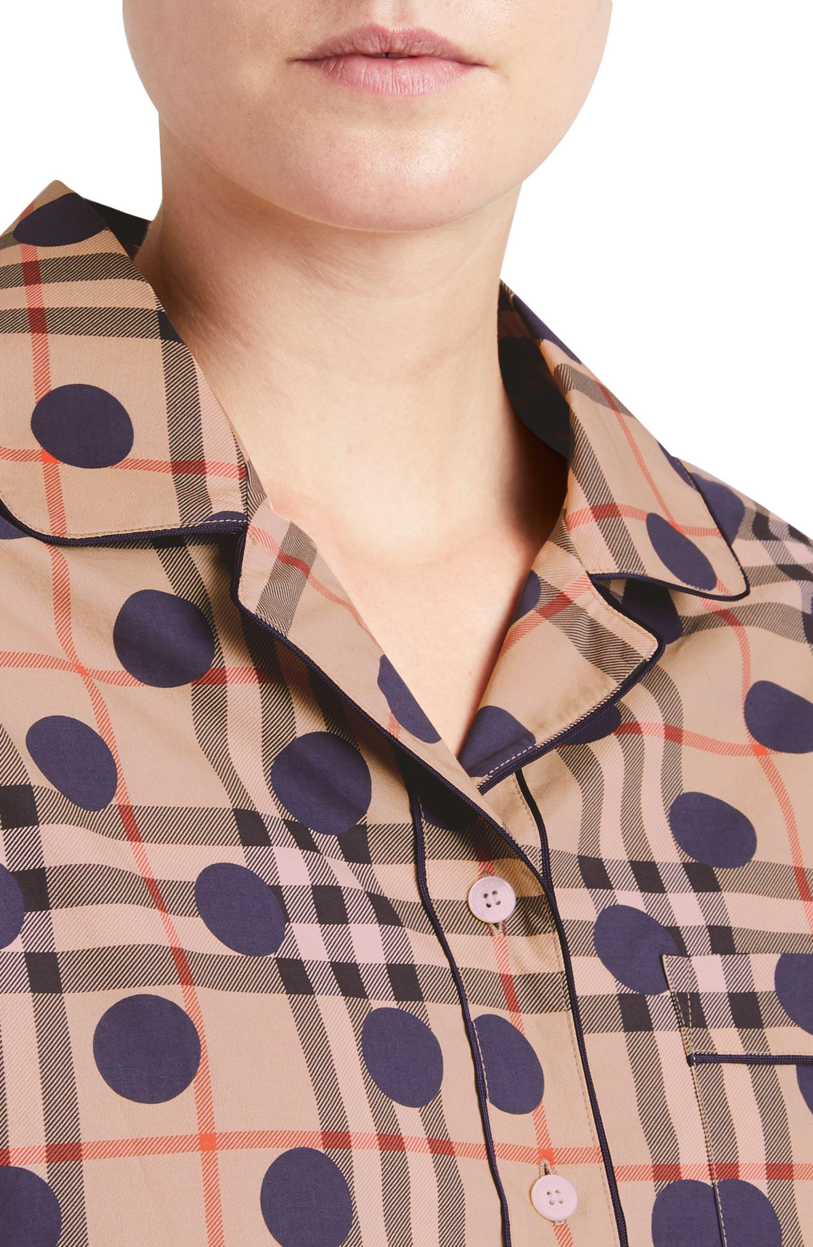 Polka Dot Check Print Cotton Shirt,                             Alternate thumbnail 3, color,                             Camel Multi