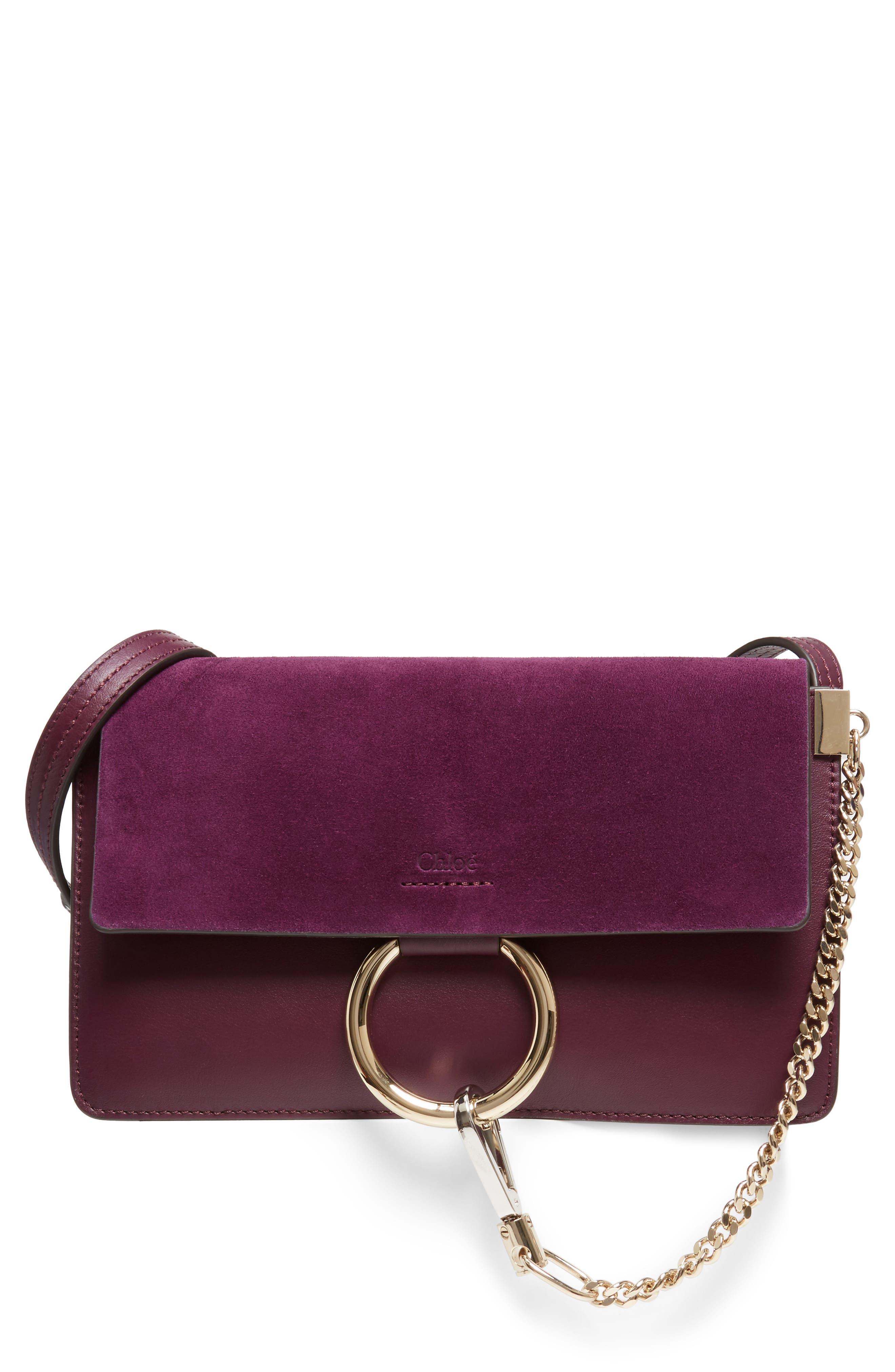 Small Faye Leather Shoulder Bag,                         Main,                         color, Intense Violine