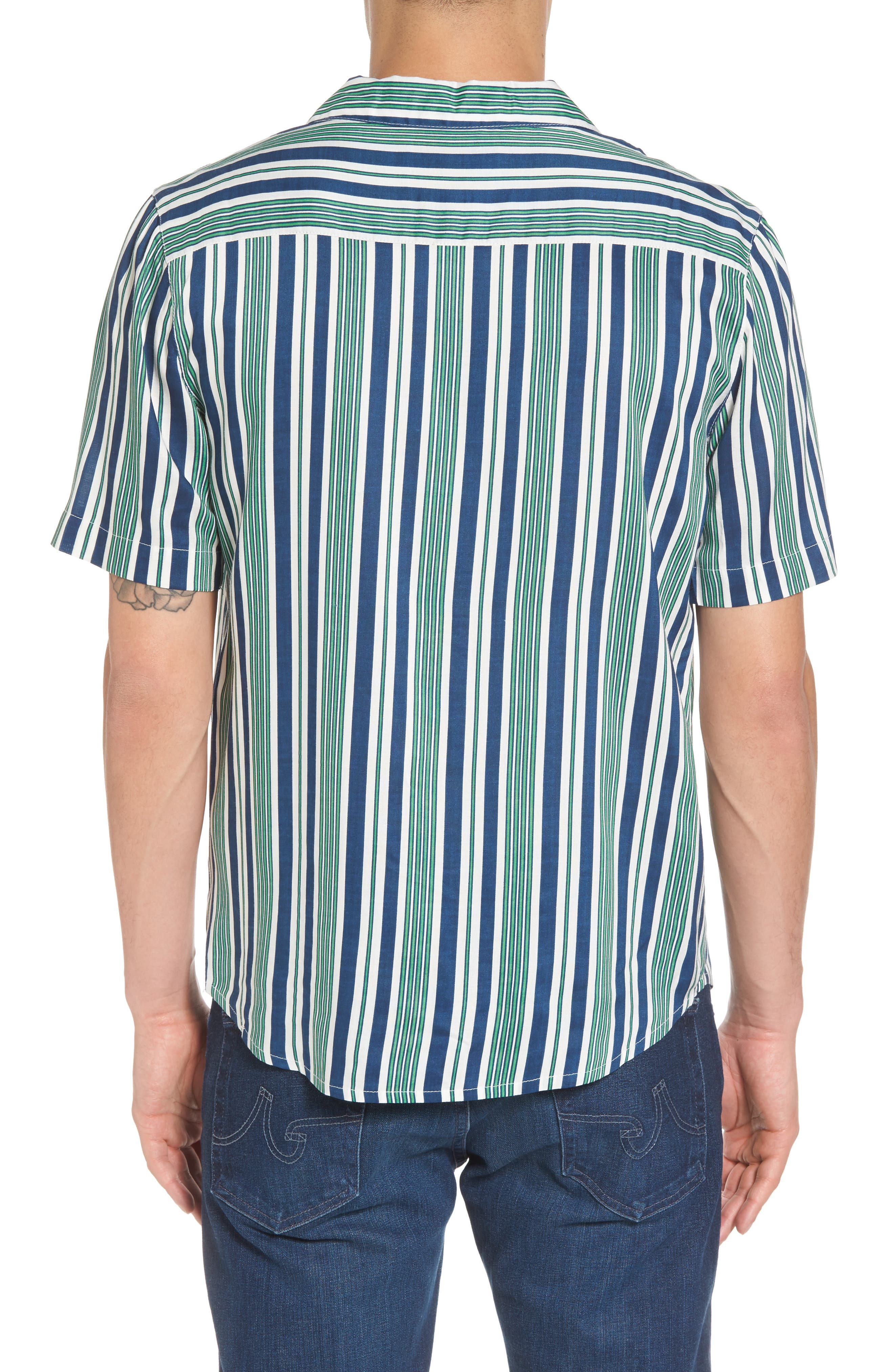 Bay Stripe Woven Shirt,                             Alternate thumbnail 2, color,                             Green