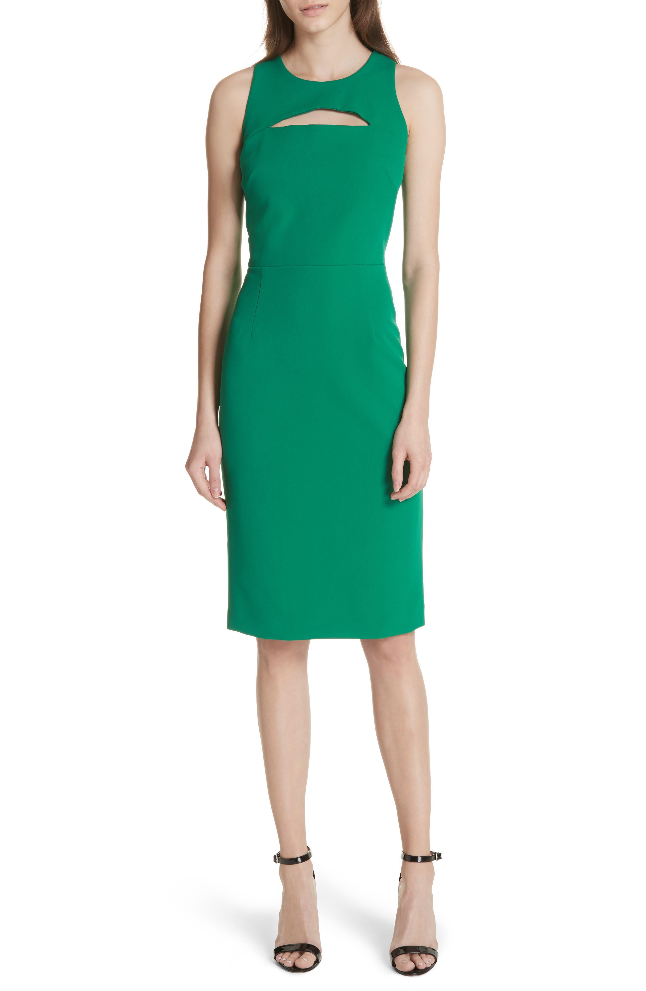 Luna Cutout Detail Crepe Sheath Dress,                         Main,                         color, Emerald