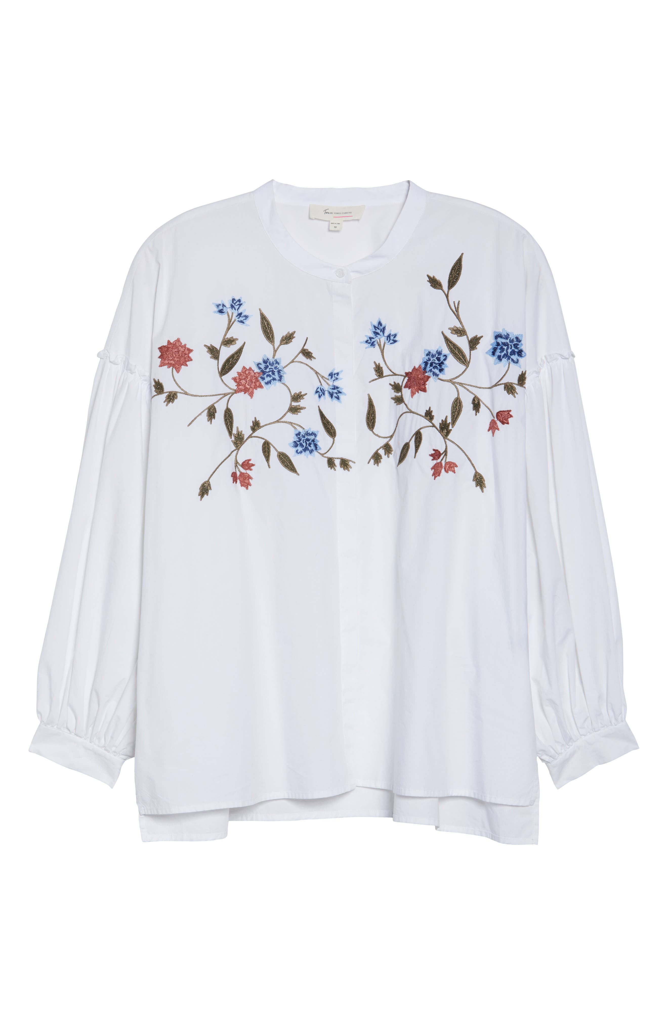 Embroidered Bubble Sleeve Blouse,                             Alternate thumbnail 6, color,                             Ultra White