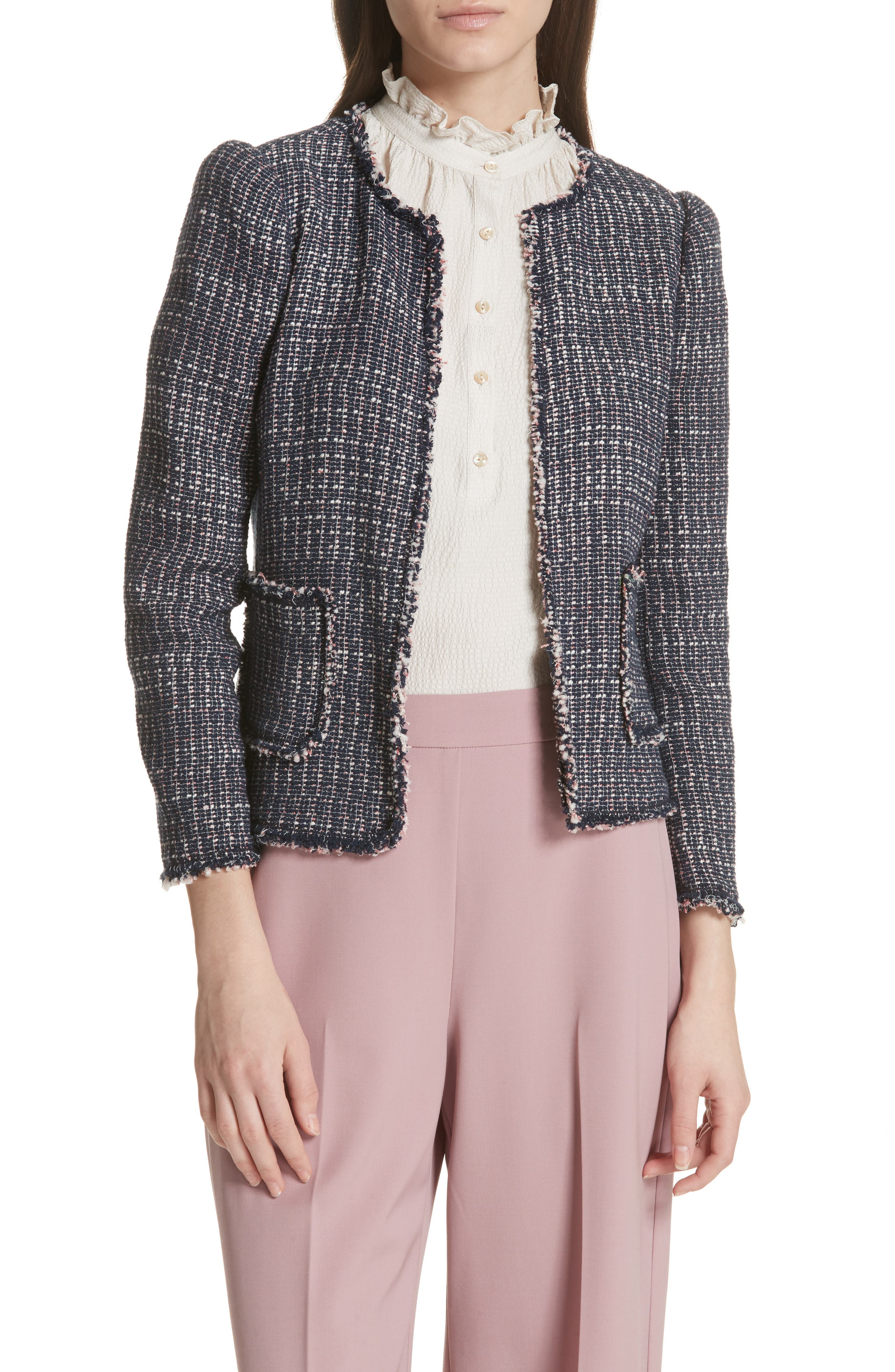 Multi Tweed Jacket,                         Main,                         color, Navy Combo