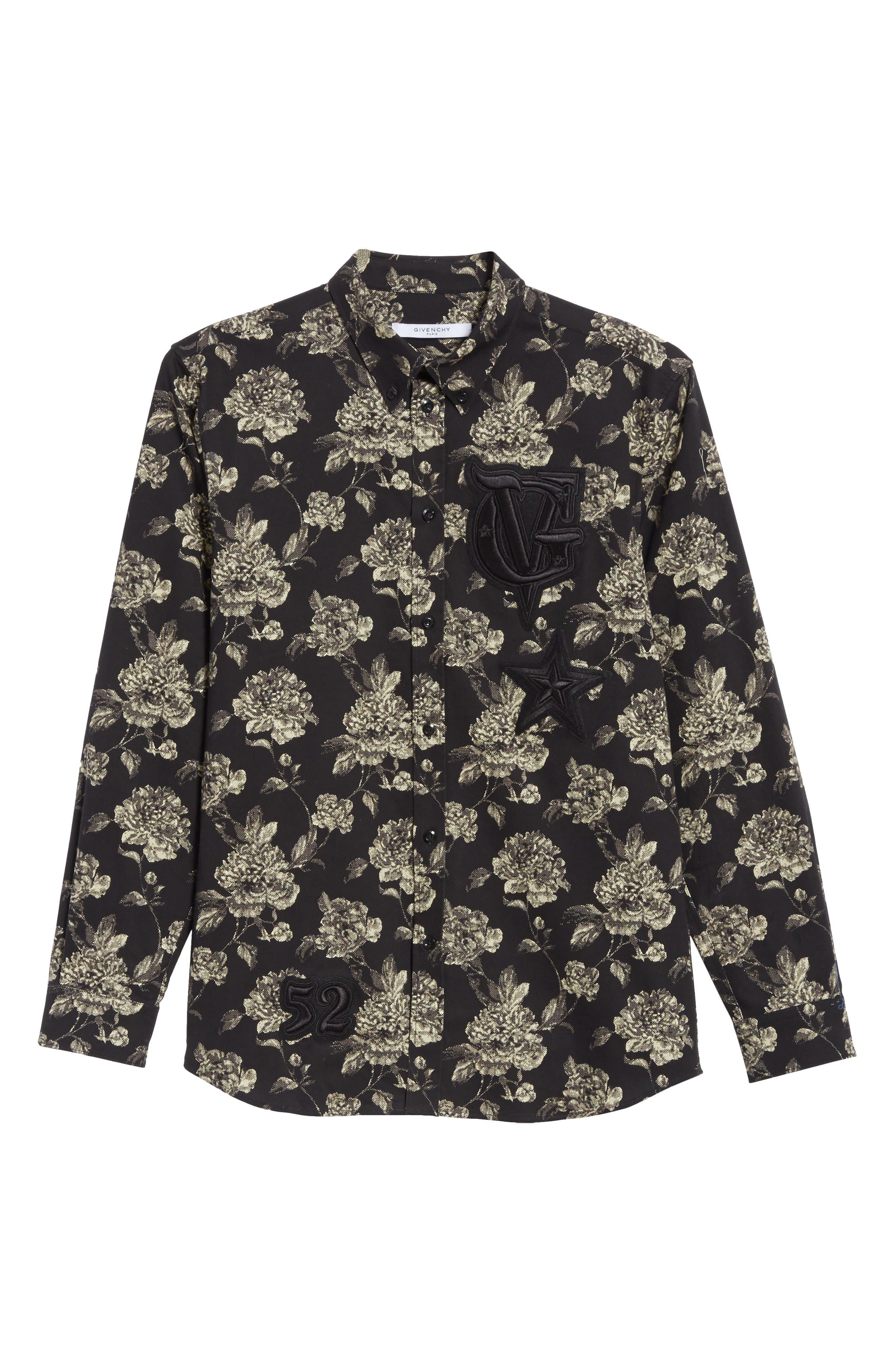 Floral Print Shirt,                             Alternate thumbnail 6, color,                             Black