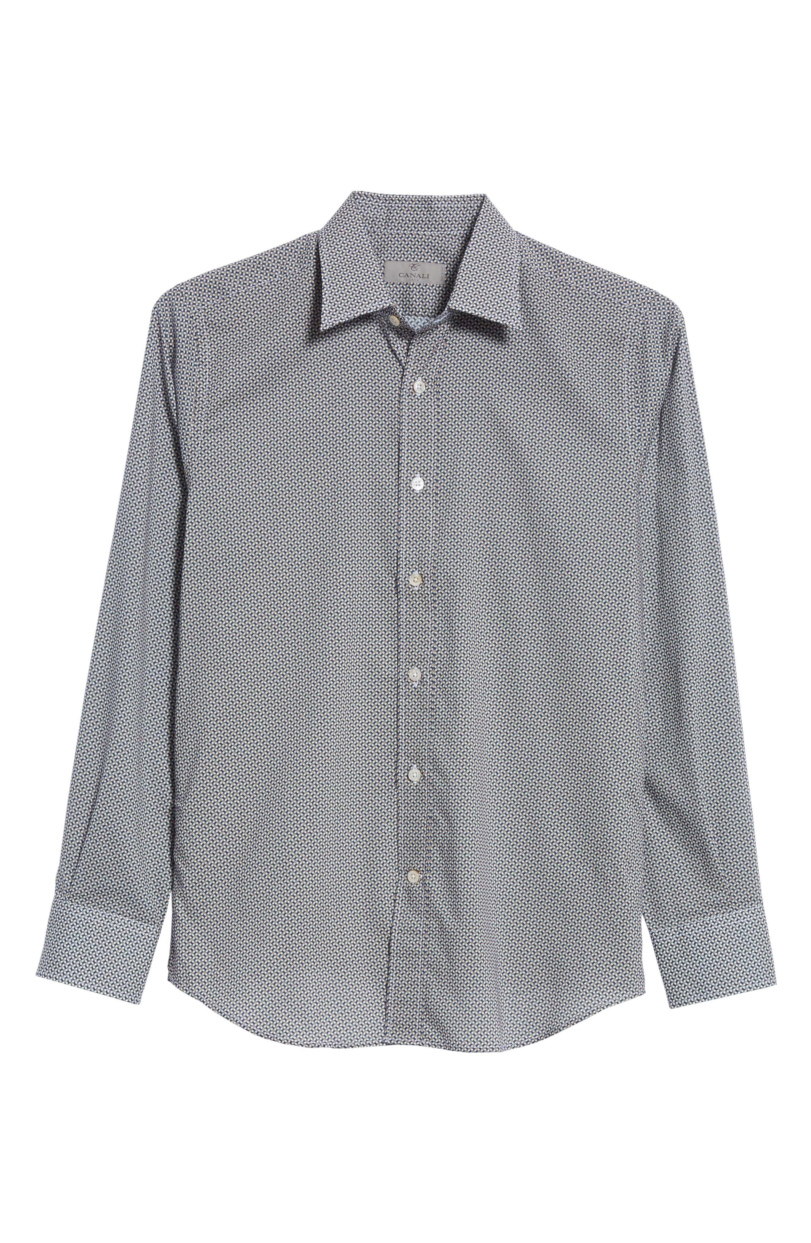 Regular Fit Print Sport Shirt,                             Alternate thumbnail 6, color,                             Dark Beige