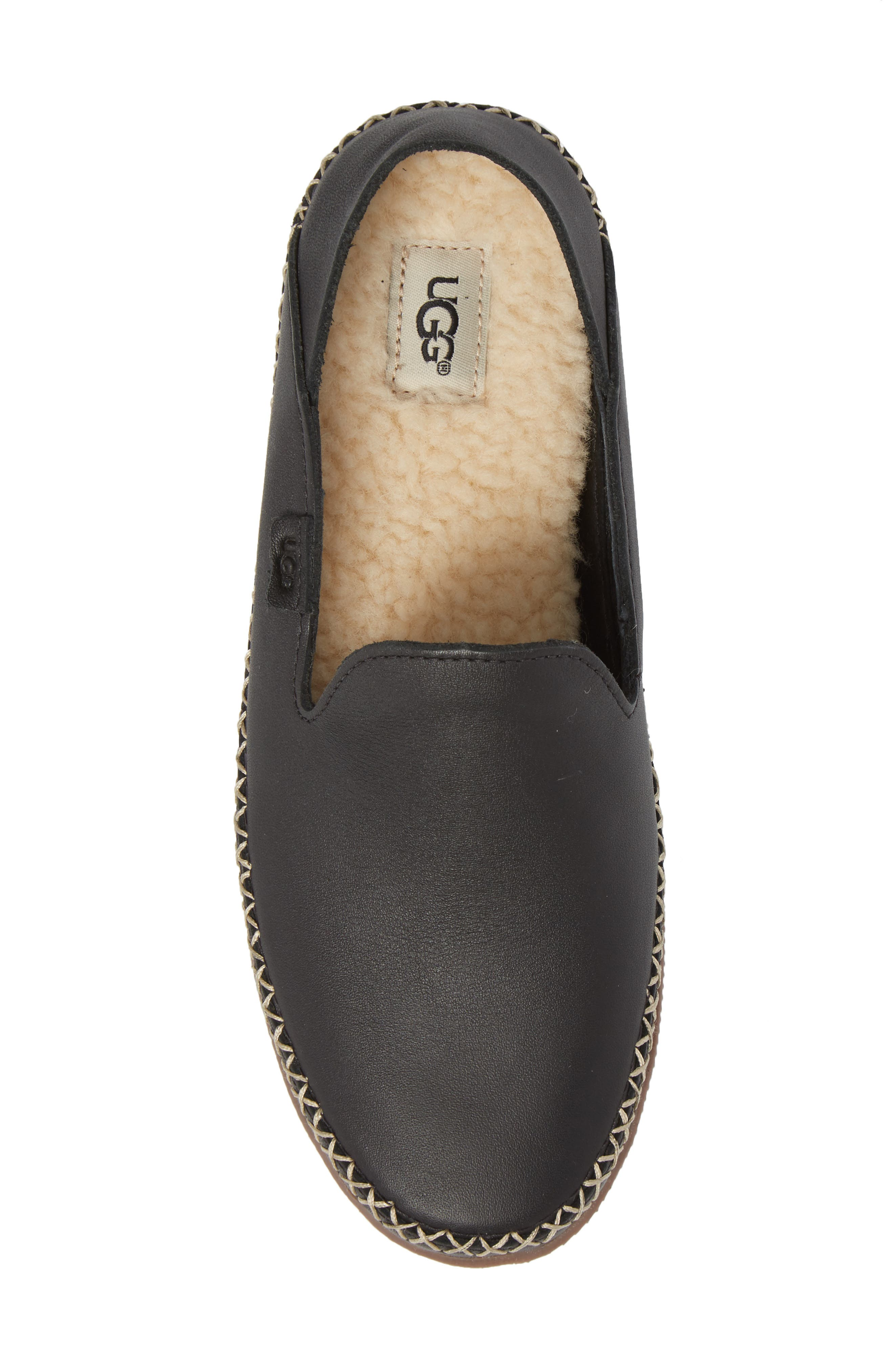 Elodie Flat,                             Alternate thumbnail 5, color,                             Black Leather