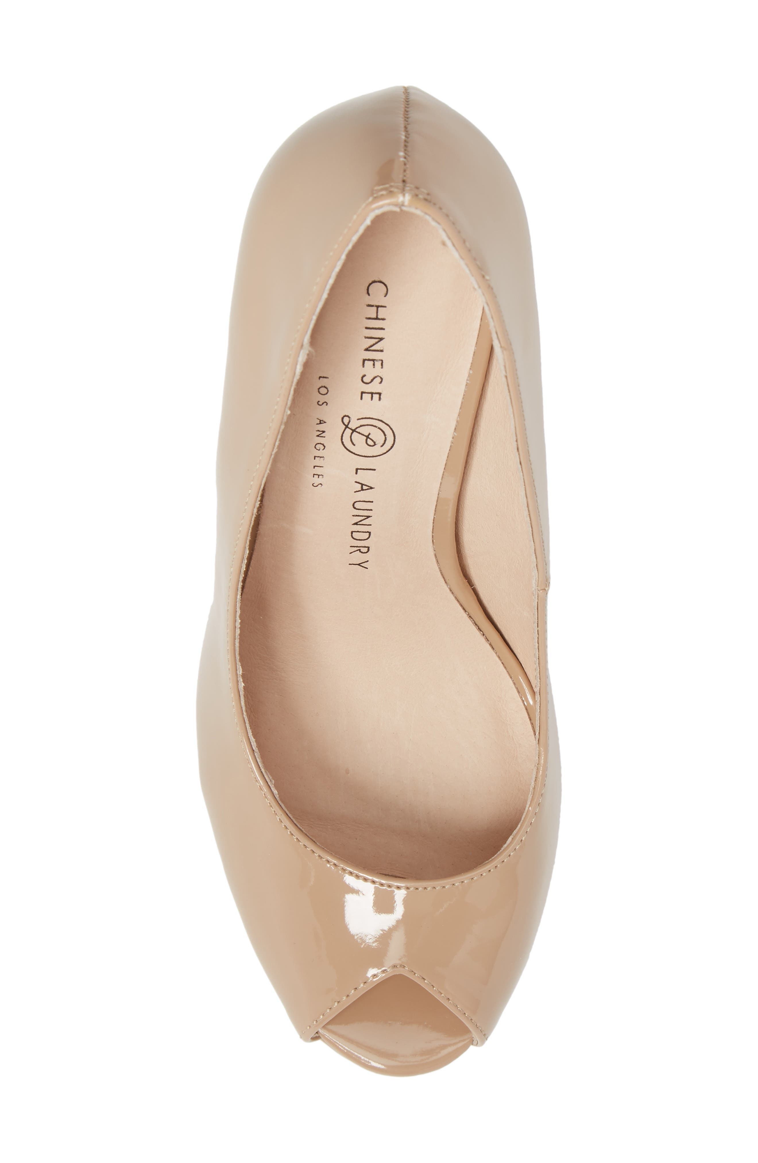 Fia Peep Toe Pump,                             Alternate thumbnail 5, color,                             Nude Patent