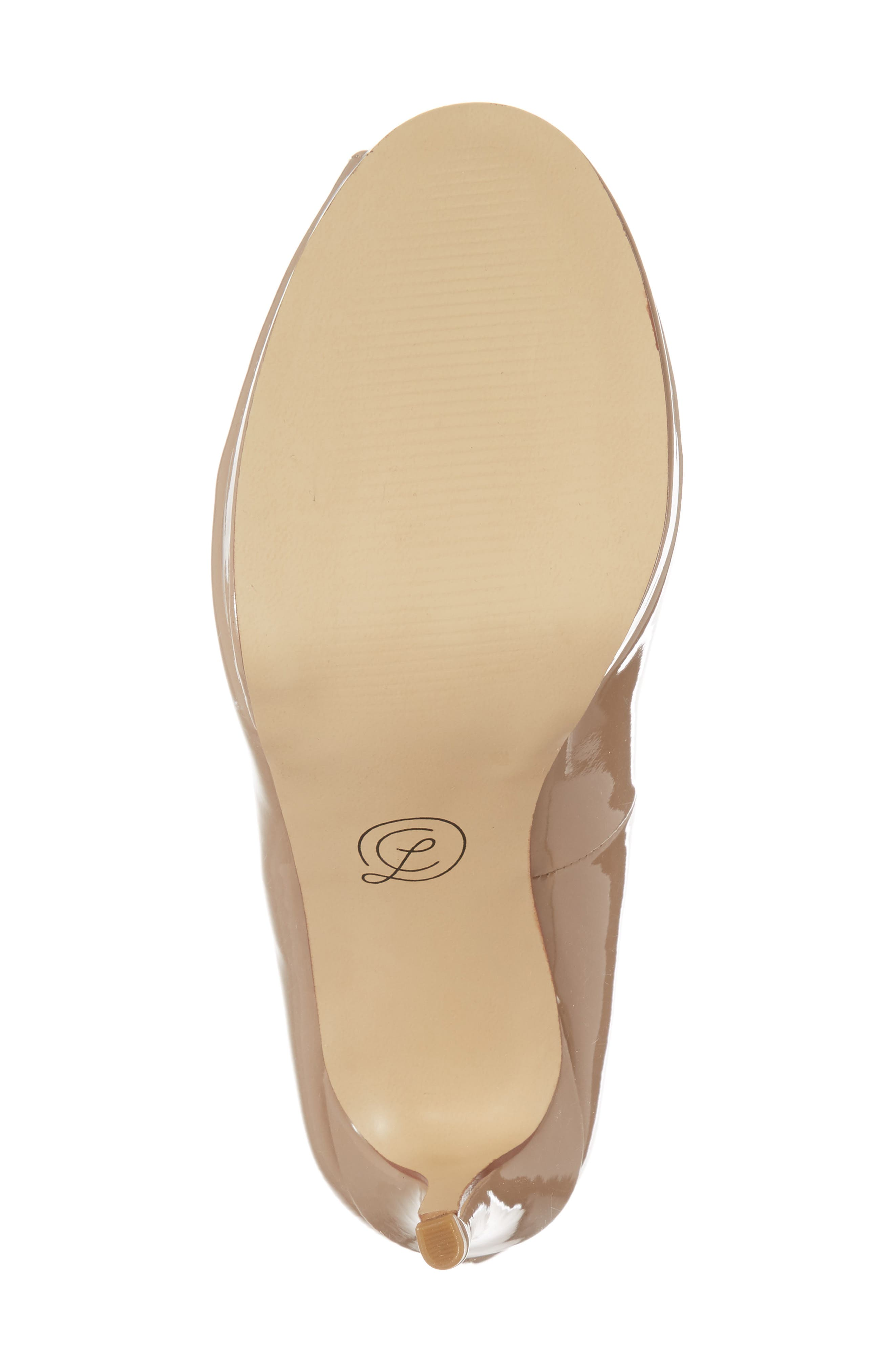Fia Peep Toe Pump,                             Alternate thumbnail 6, color,                             Nude Patent
