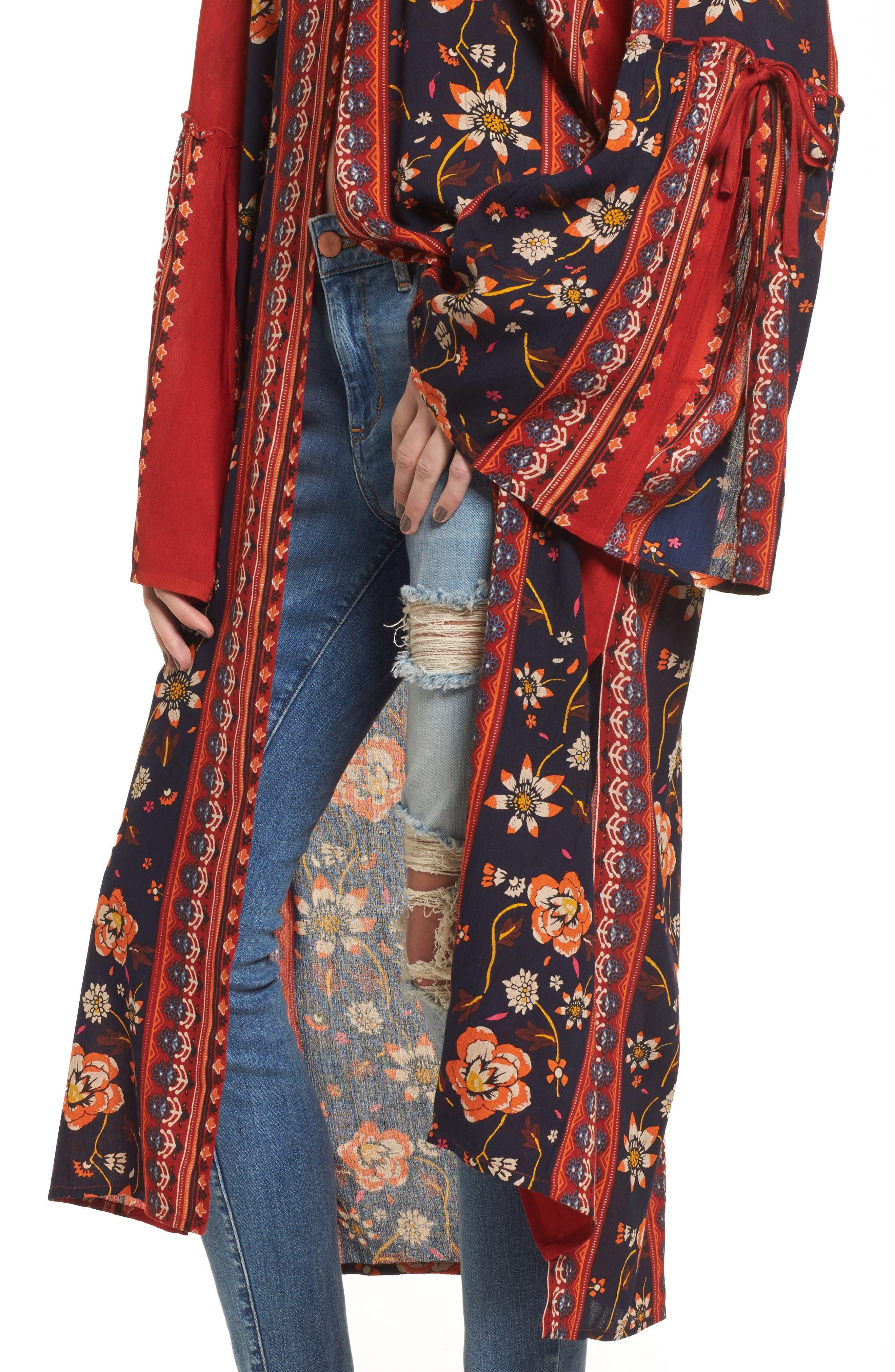 Bell Sleeve Kimono,                             Alternate thumbnail 4, color,                             Rust/ Navy