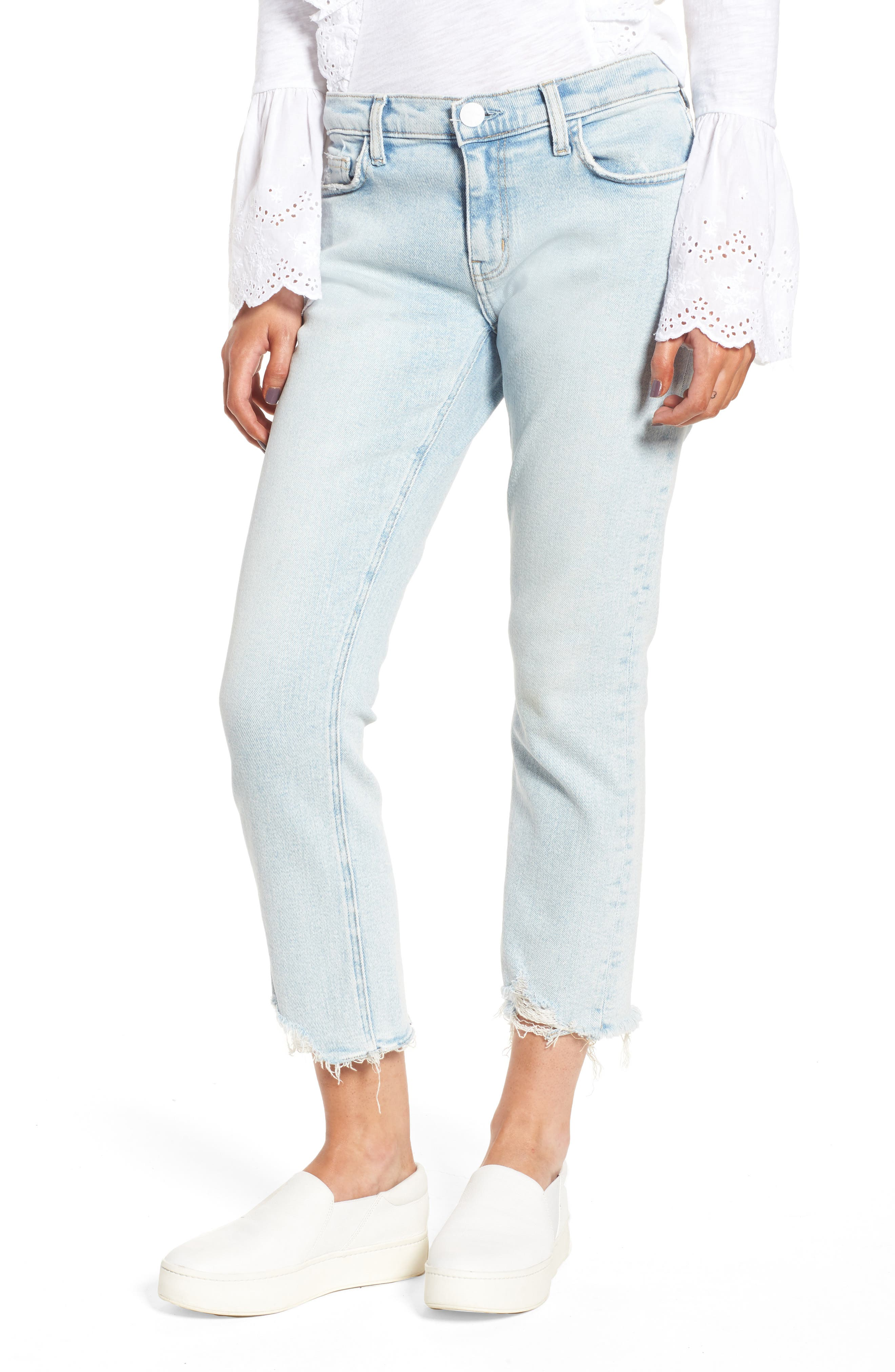 The Cropped Straight Leg Jeans,                         Main,                         color, Cascade W/ Punk Hem