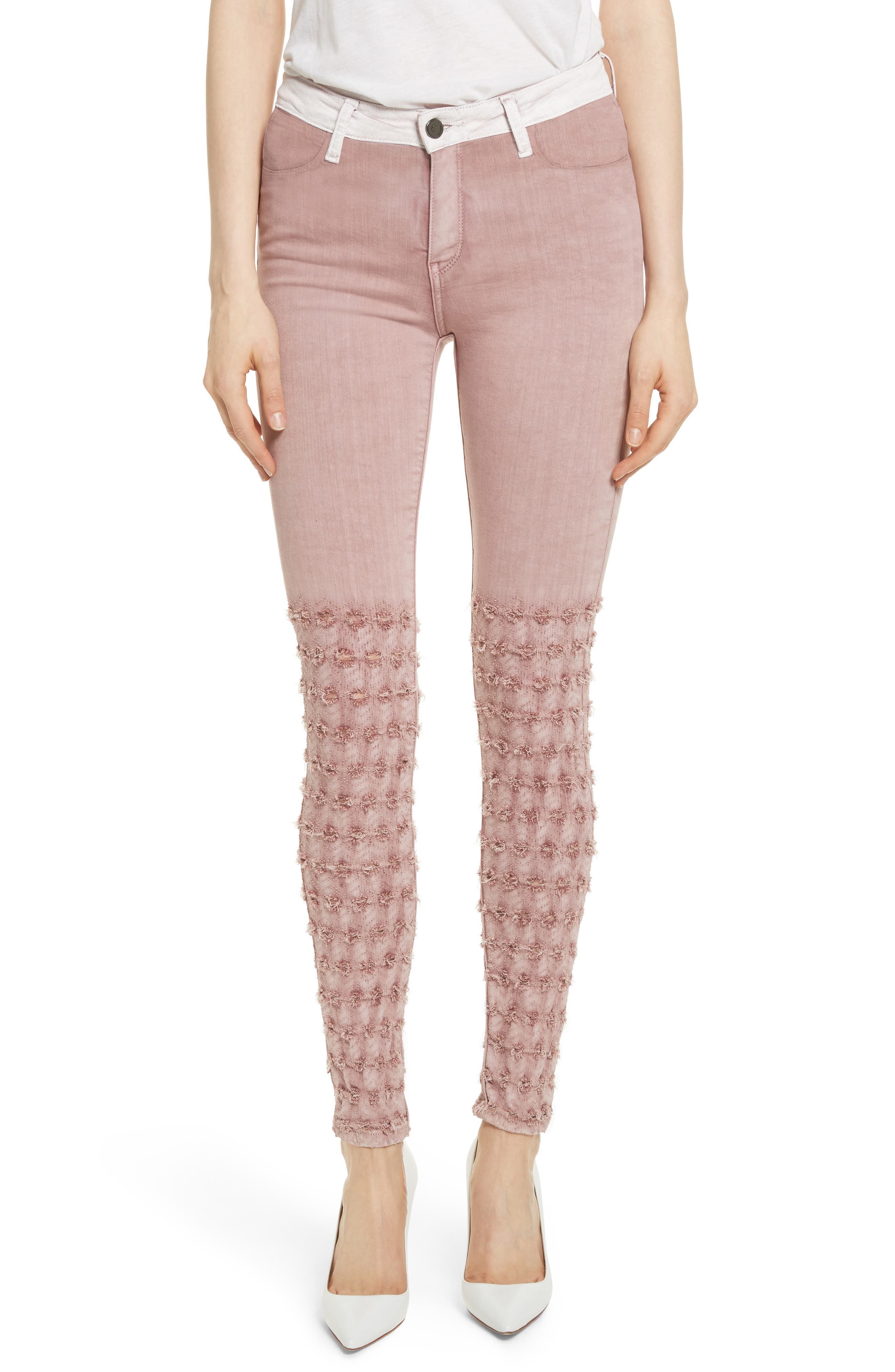 Emma Embroidered Skinny Jeans,                         Main,                         color, Rose