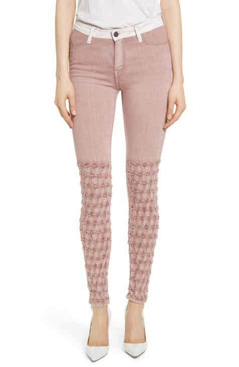 BROCKENBOW Emma Embroidered Skinny Jeans (Rose) by BROCKENBOW