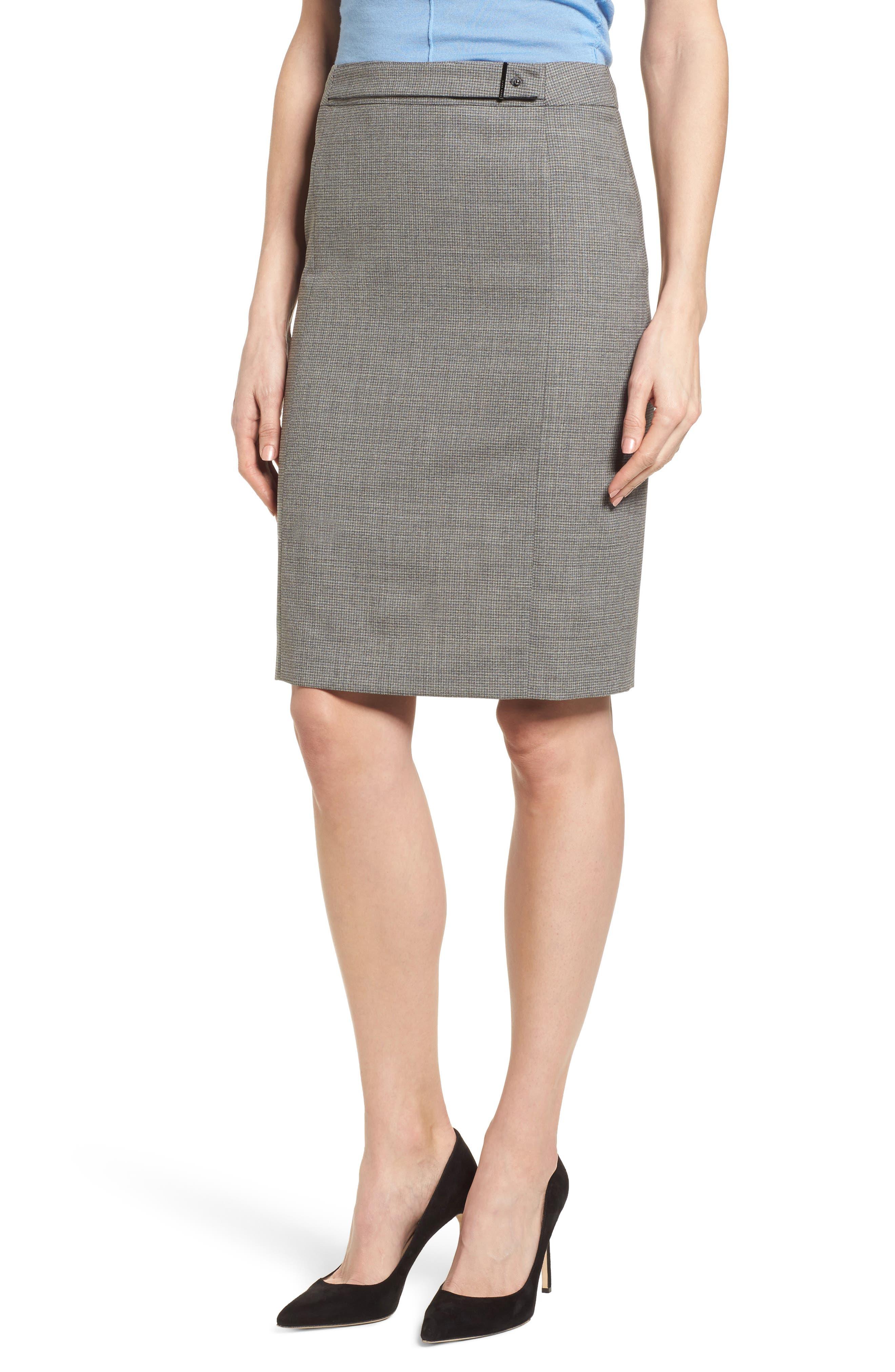 BOSS Vewisa Check Wool Suit Skirt