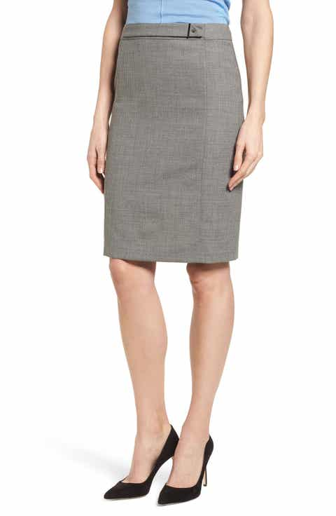 BOSS Vewisa Check Wool Suit Skirt
