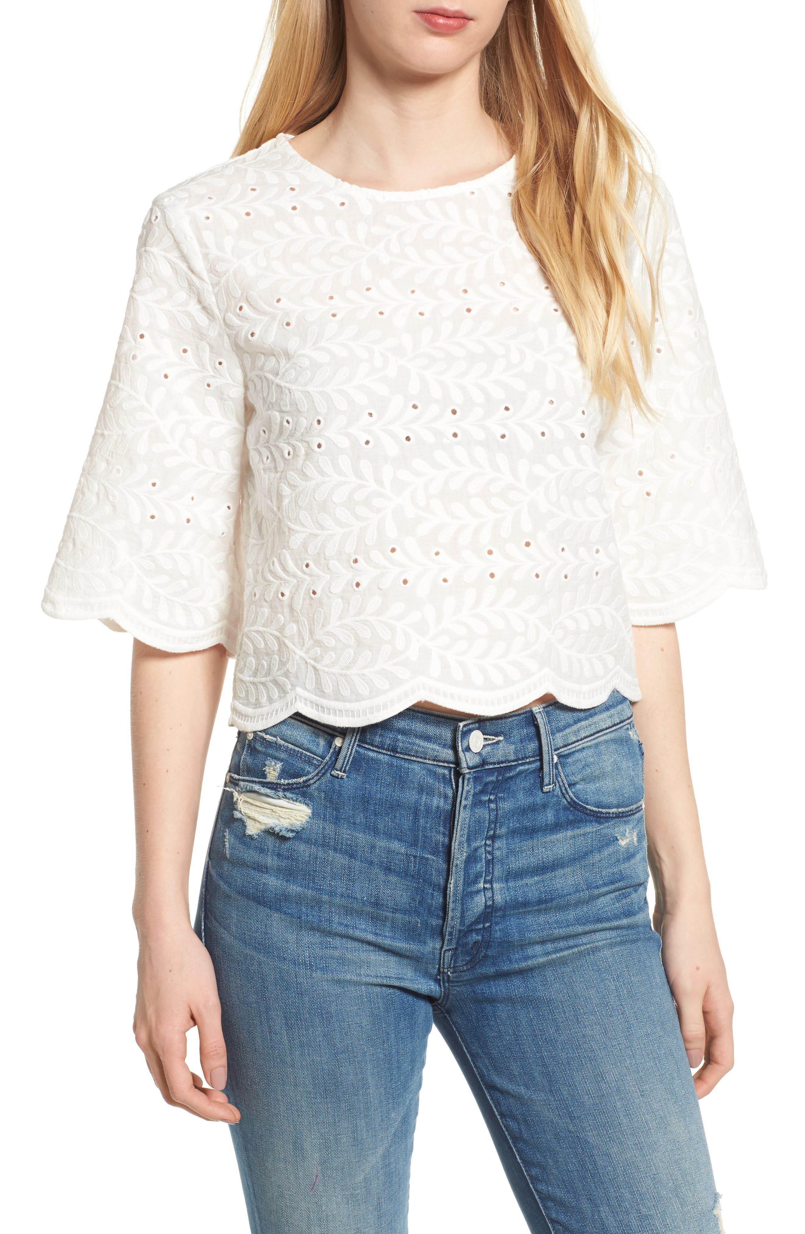 Bishop + Young Scallop Edge Blouse,                         Main,                         color, White