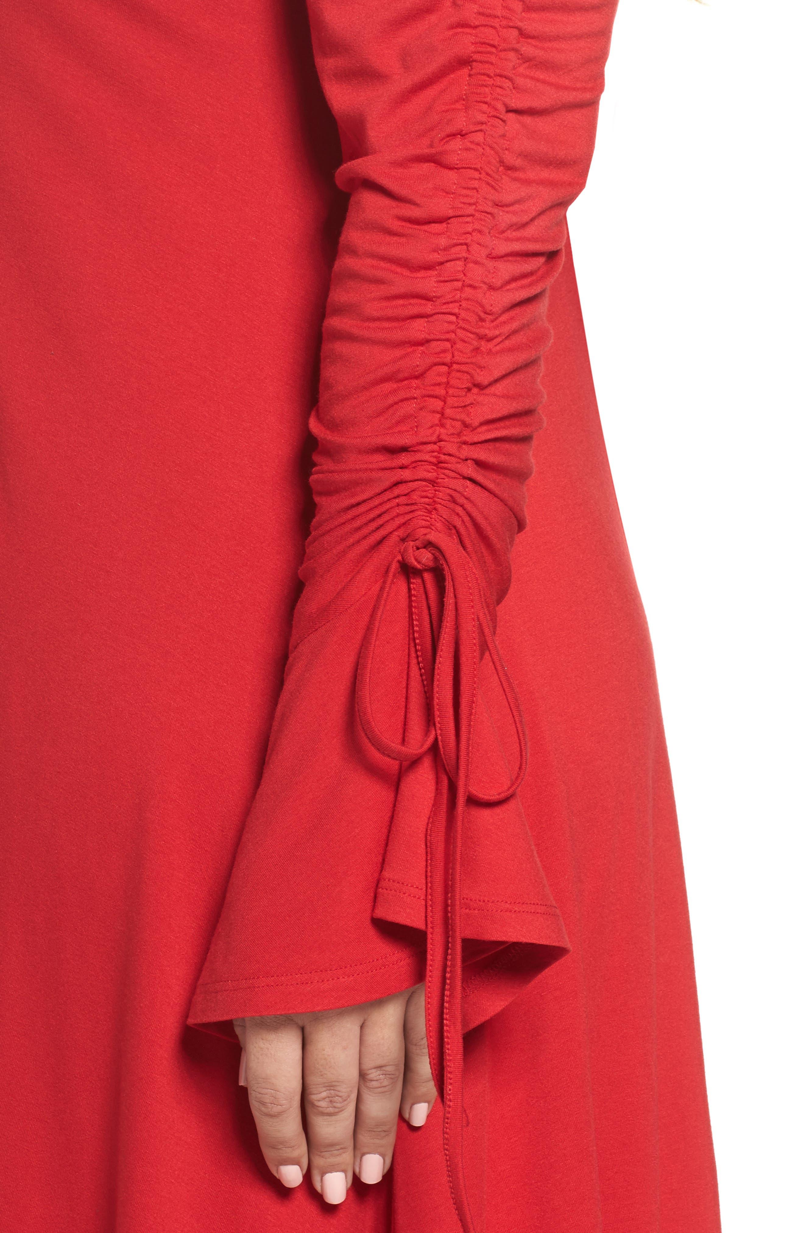 Tulip Sleeve Shift Dress,                             Alternate thumbnail 4, color,                             Red
