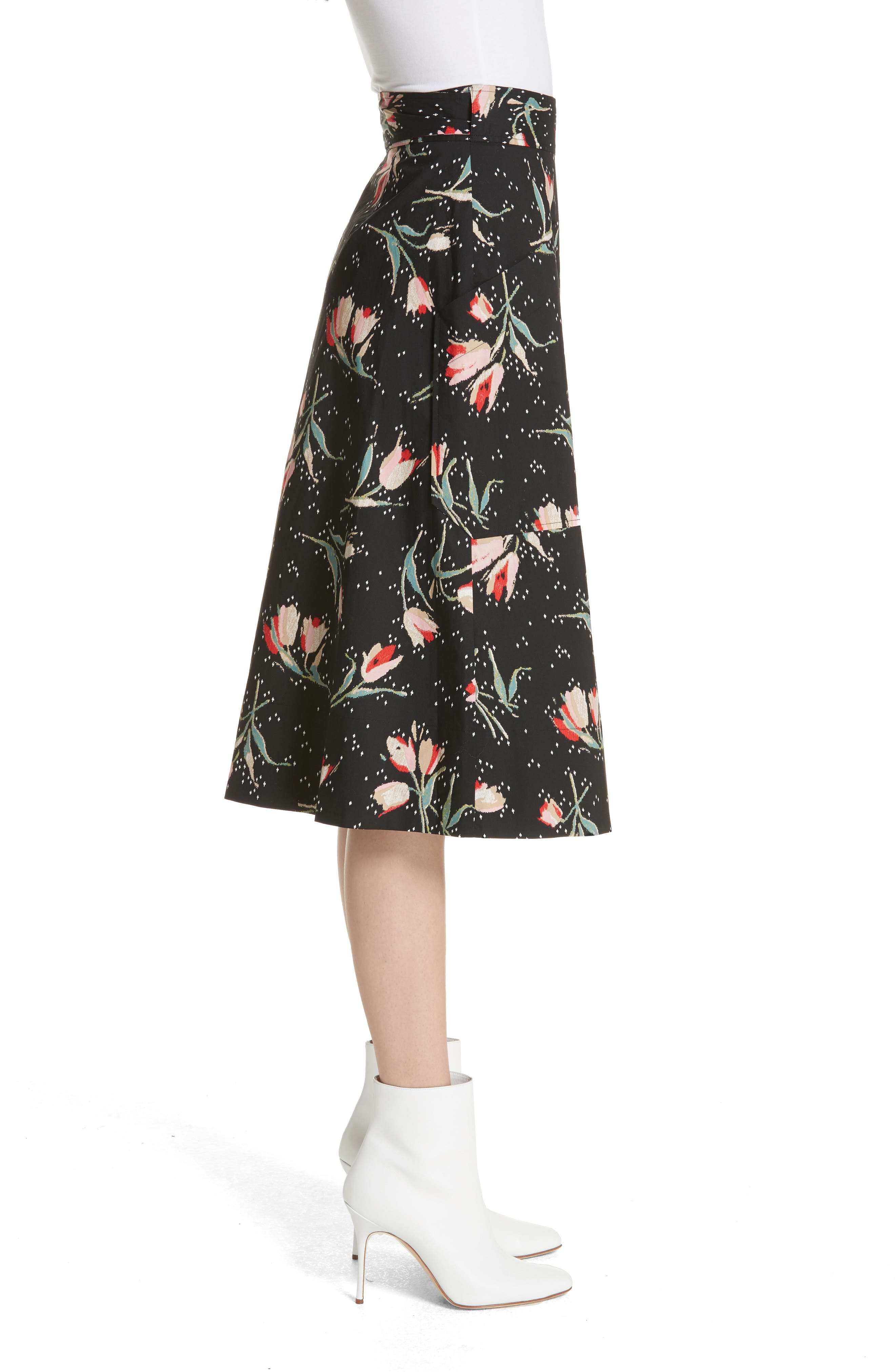 Floral Ikat Wrap Skirt,                             Alternate thumbnail 3, color,                             Black Combo