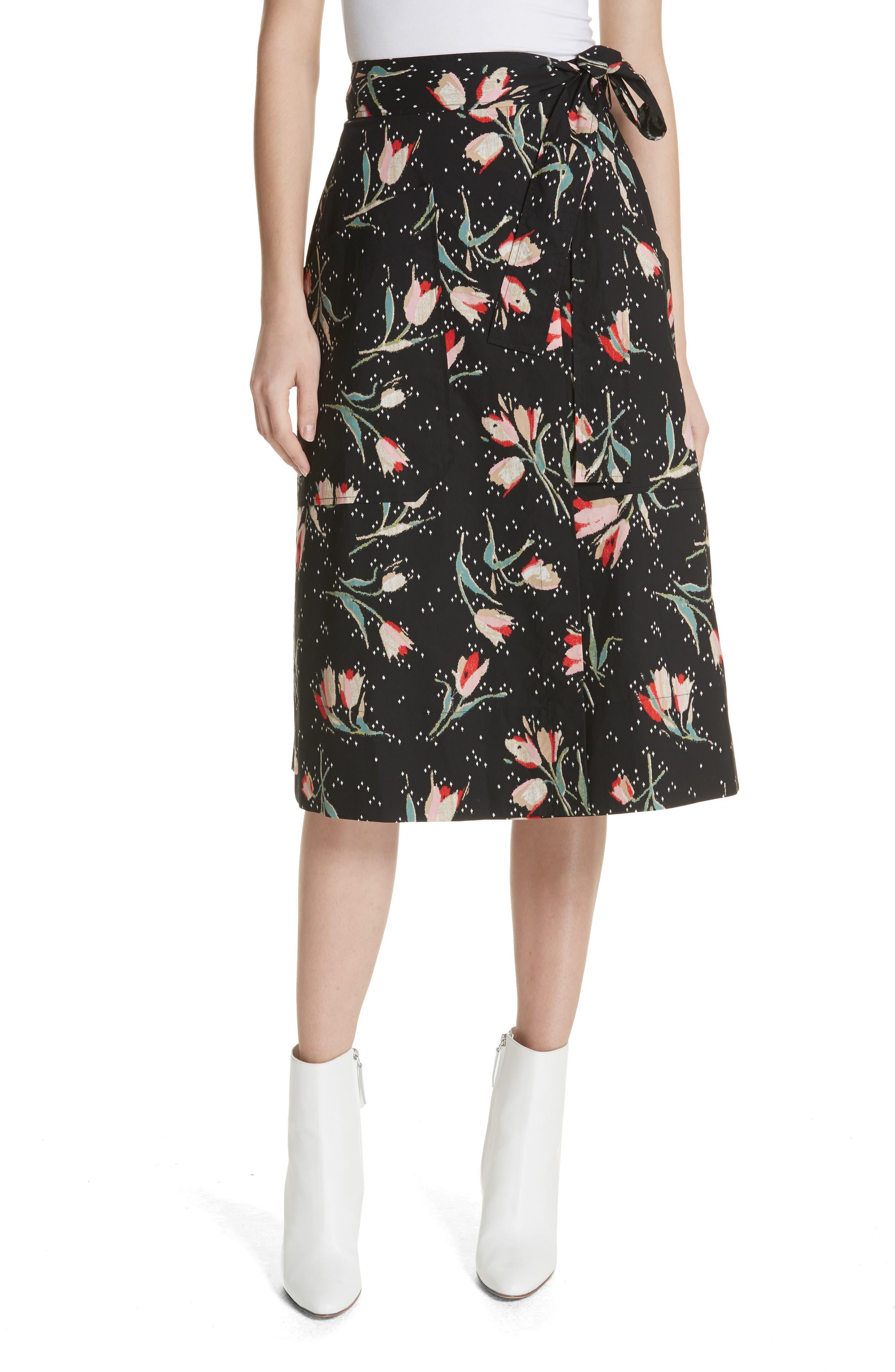 Floral Ikat Wrap Skirt,                             Main thumbnail 1, color,                             Black Combo