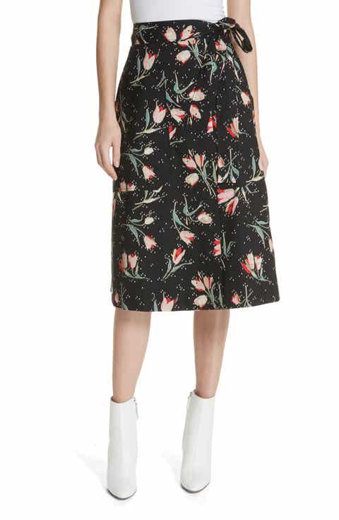 Rebecca Taylor Floral Ikat Wrap Skirt