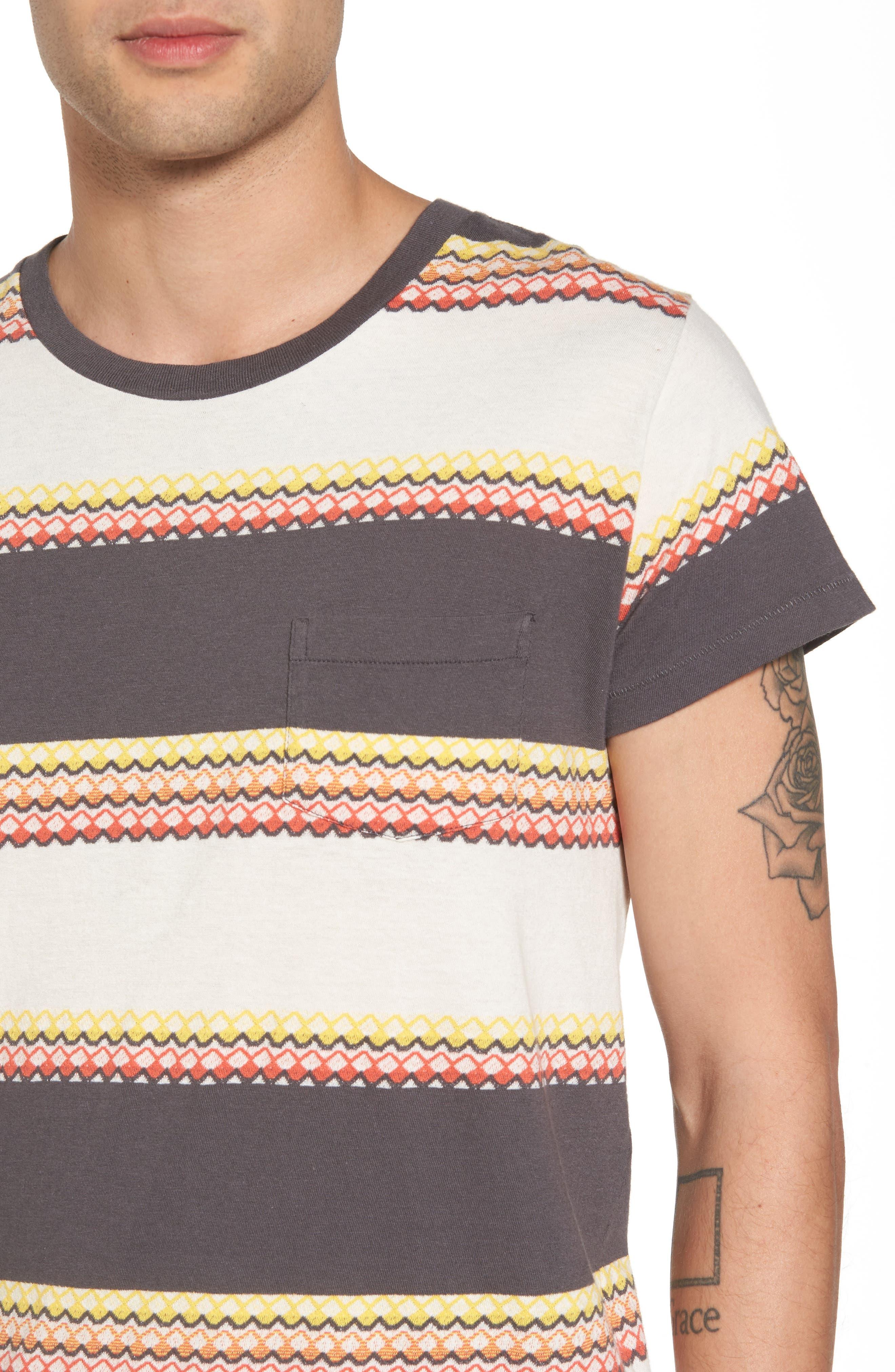 1950s Sportswear Pocket T-Shirt,                             Alternate thumbnail 4, color,                             Wave Jacquard Blue Multi