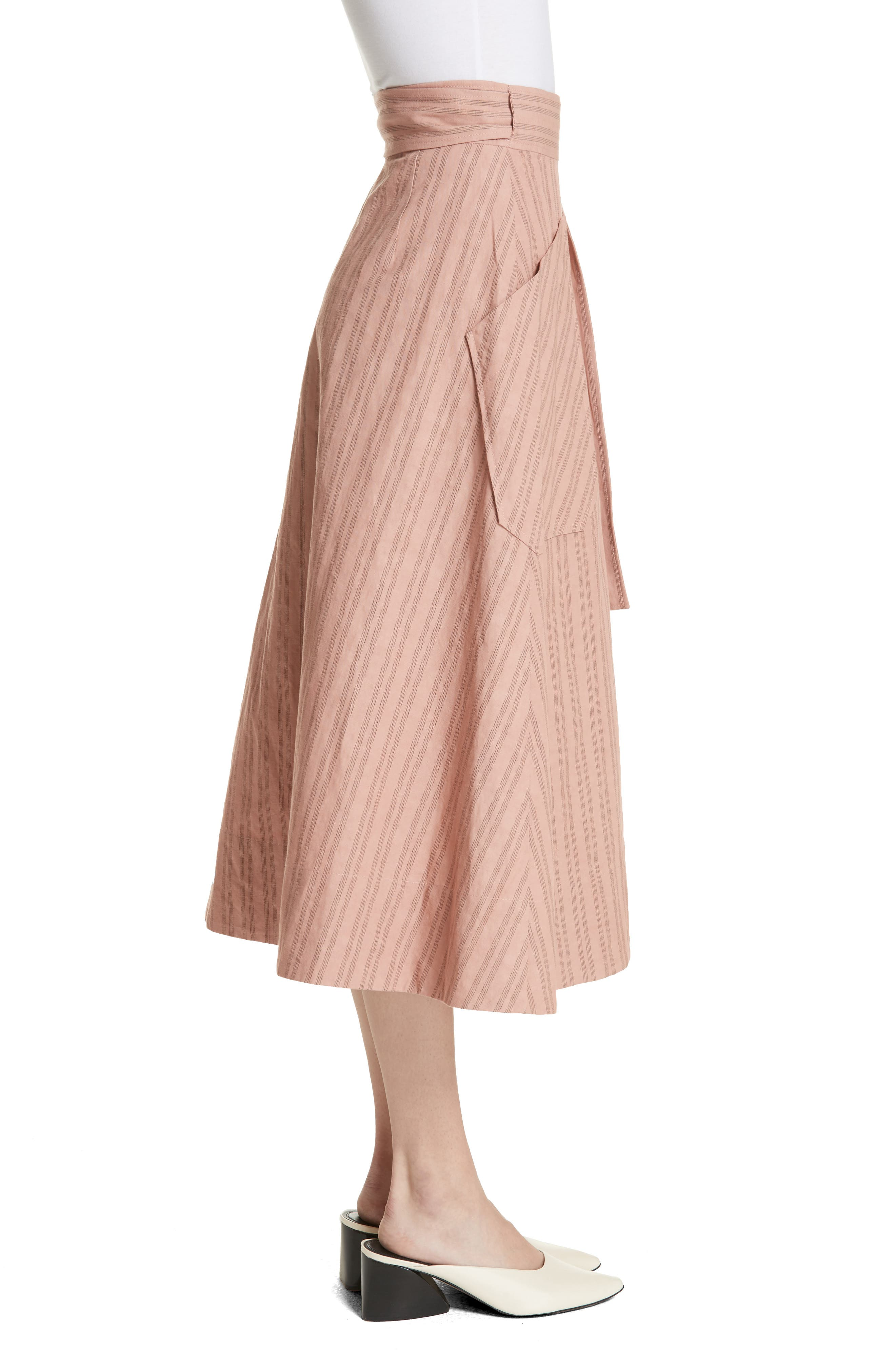 Stripe Wrap Midi Skirt,                             Alternate thumbnail 3, color,                             Rose Hip/ Black