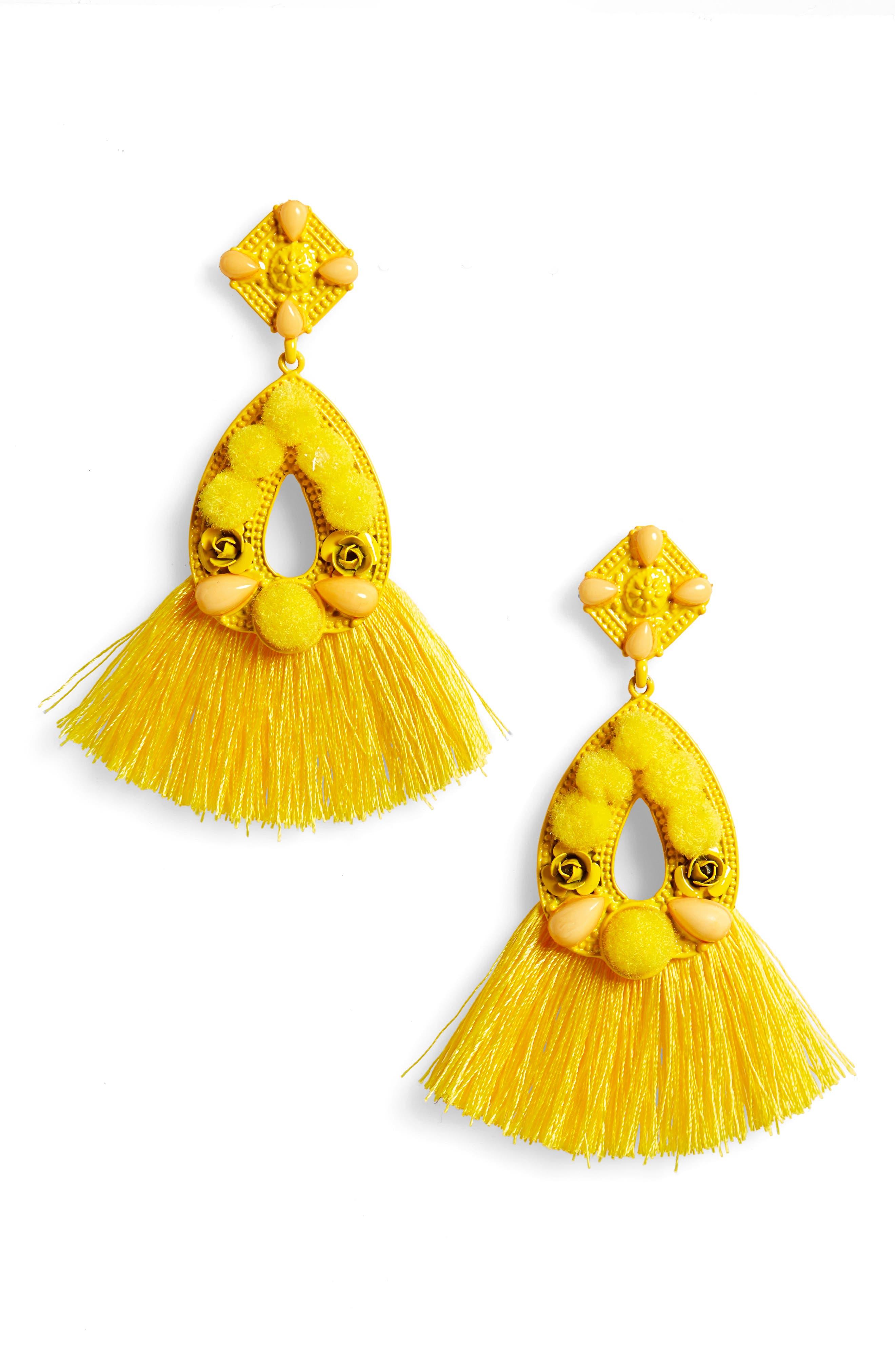 Pompom Tassel Earrings,                         Main,                         color, Yellow