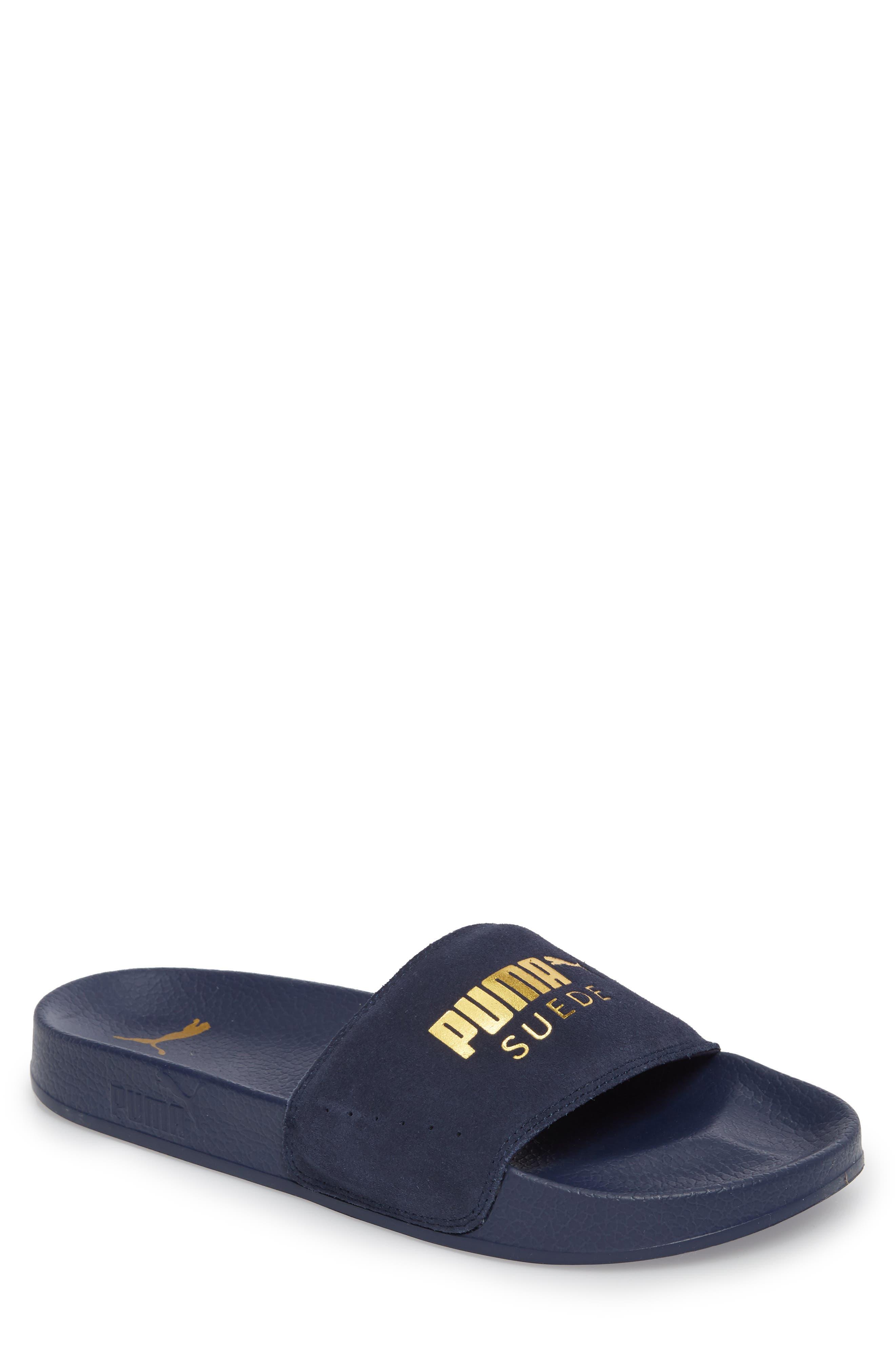 Leadcat Suede Slide Sandal,                             Main thumbnail 1, color,                             Peacoat/ Gold Leather/ Suede