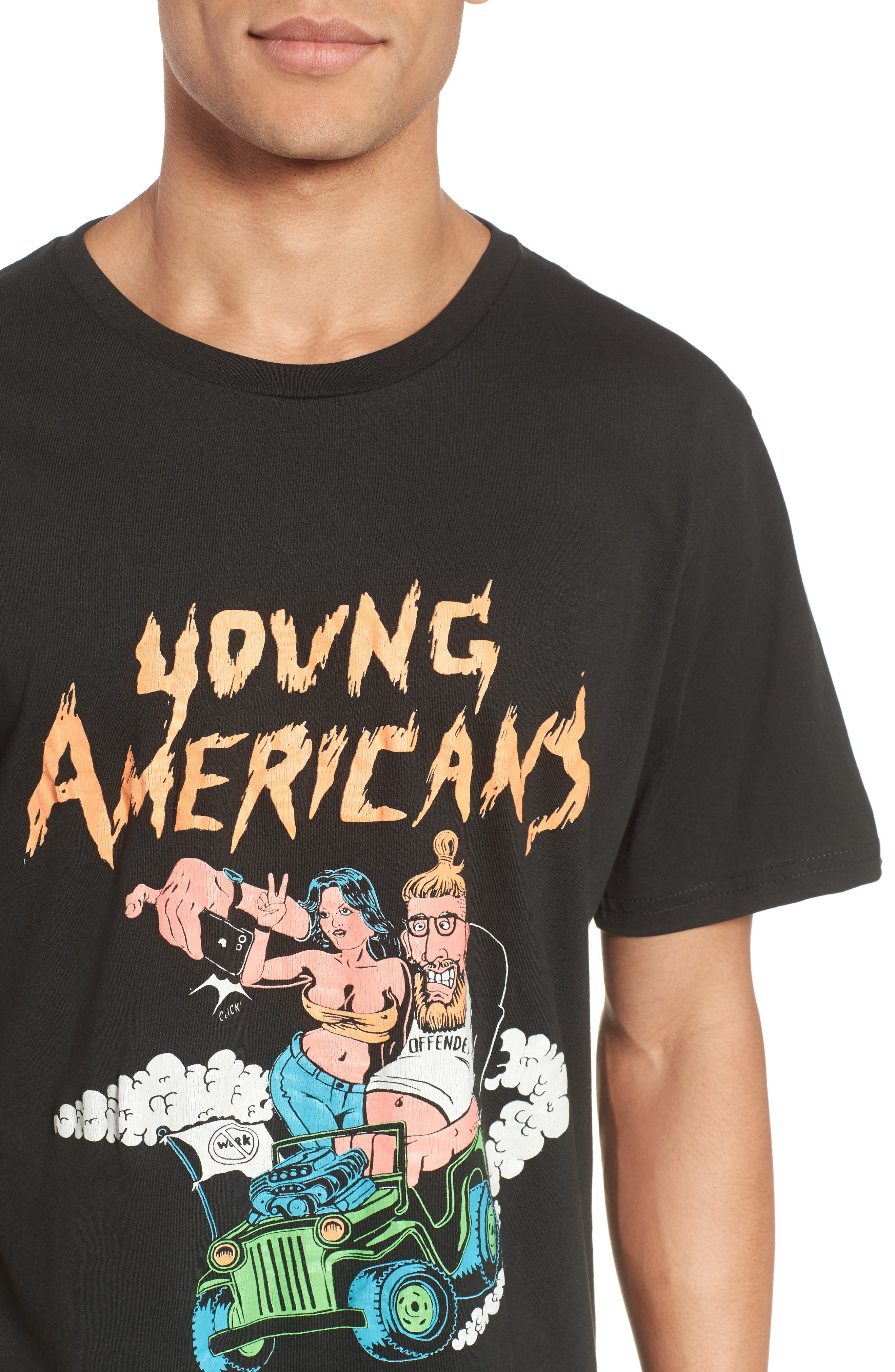 Young Americans Slim Graphic T-Shirt,                             Alternate thumbnail 4, color,                             Neon On Dusty Black