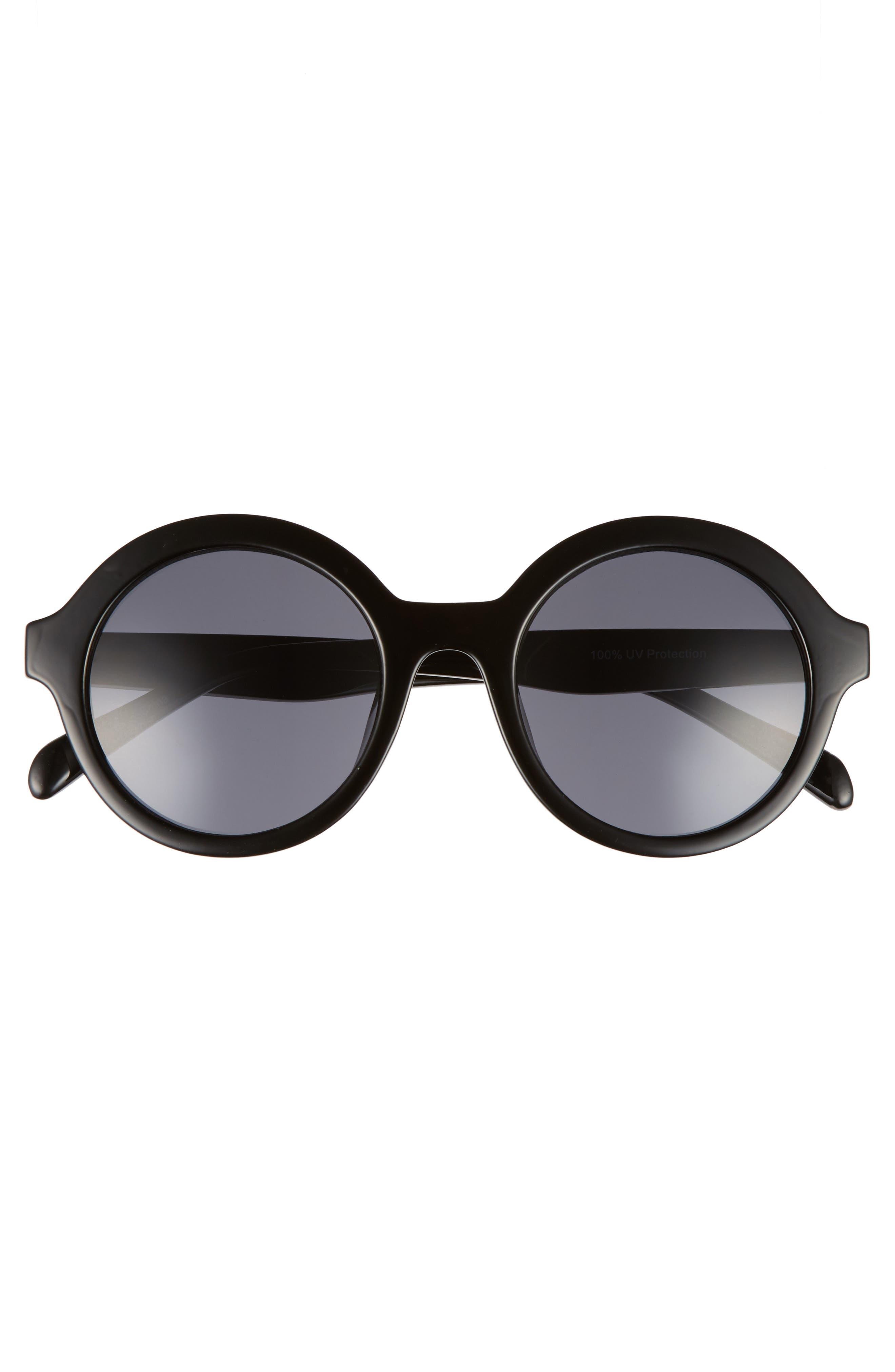 50mm Round Sunglasses,                             Alternate thumbnail 3, color,                             Black