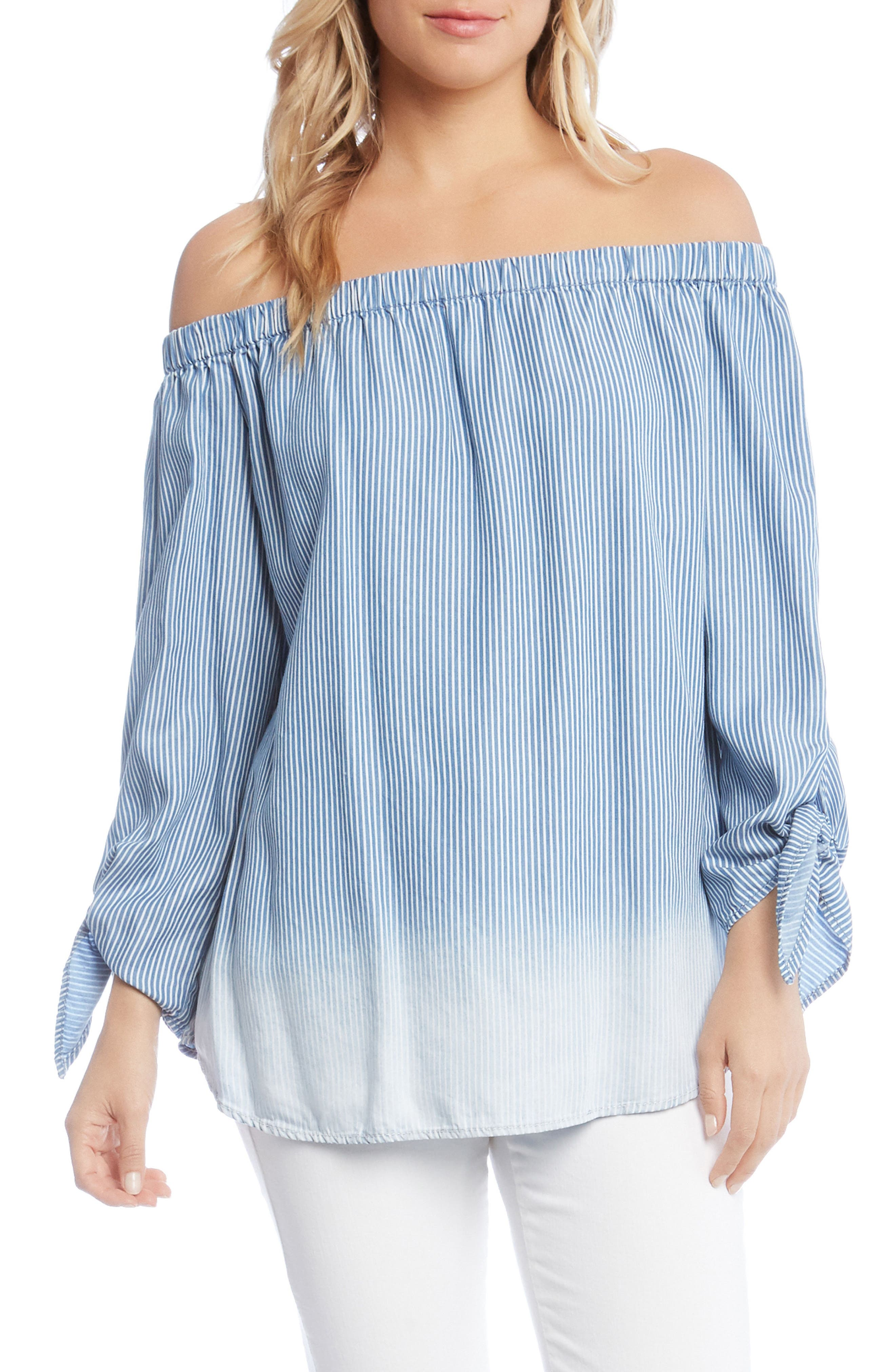 Off the Shoulder Stripe Tie Sleeve Top,                         Main,                         color, Striped