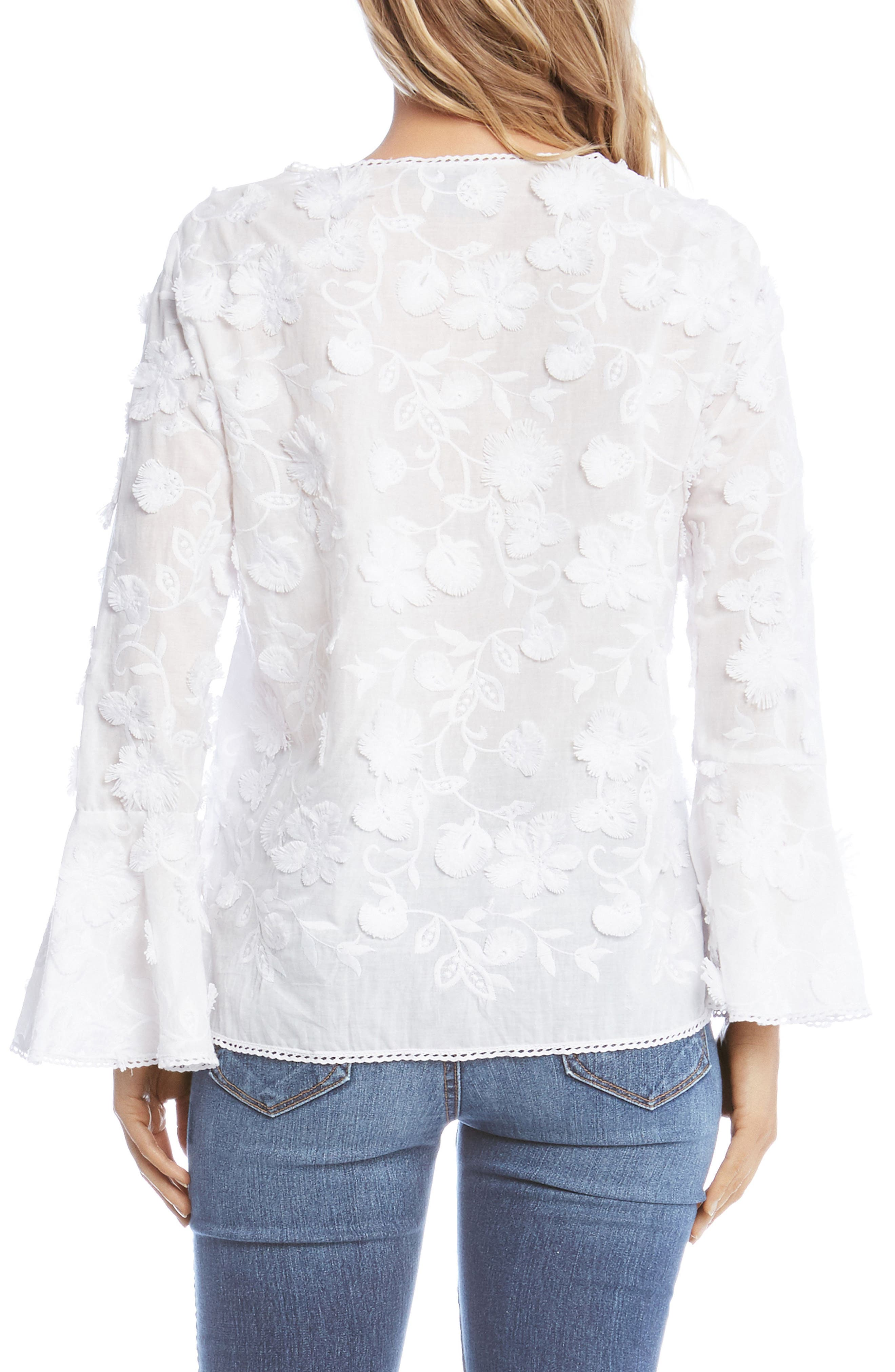 Floral Bell Sleeve Top,                             Alternate thumbnail 3, color,                             White