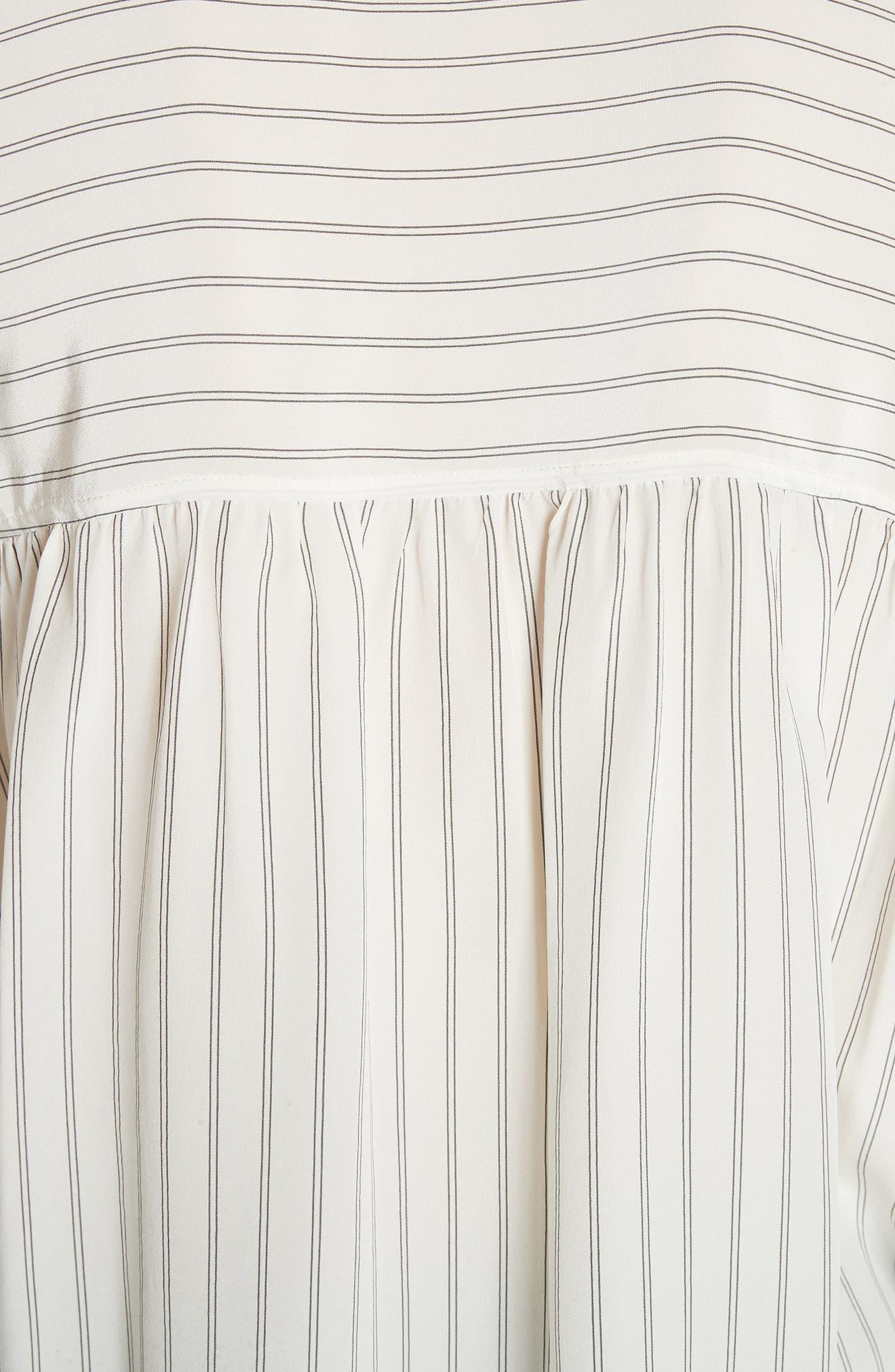 Double Stripe Silk Pullover,                             Alternate thumbnail 5, color,                             Cream