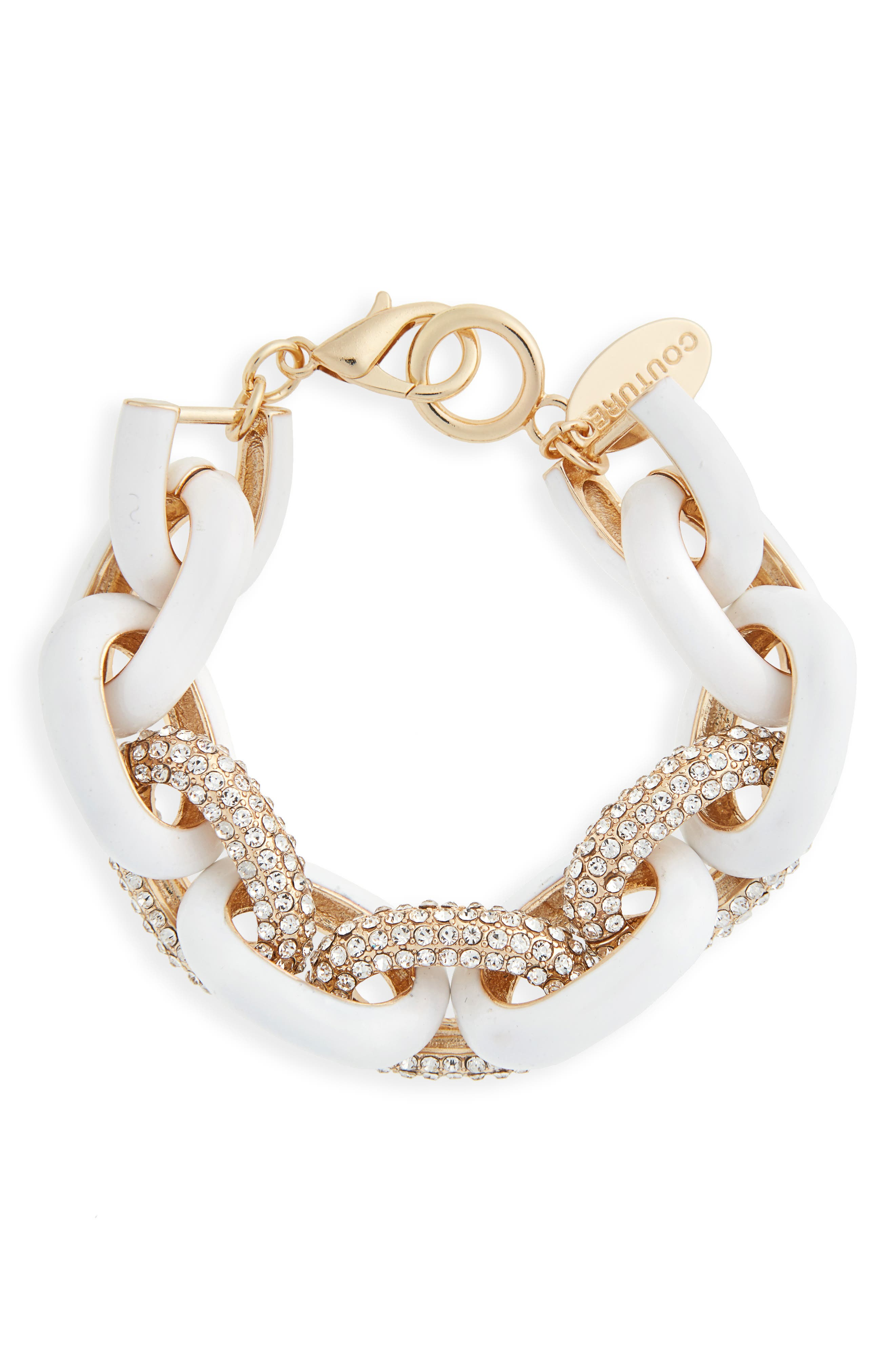 Couture Crystal Link Bracelet,                         Main,                         color, Gold/ White